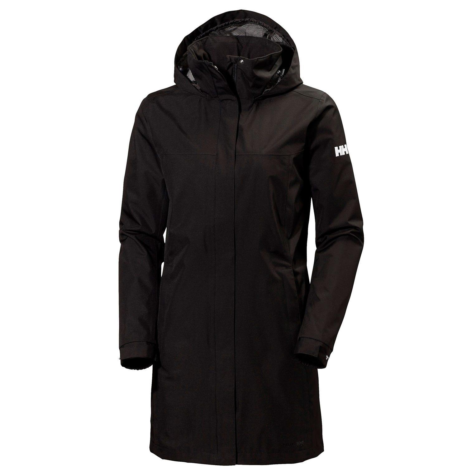 Helly Hansen W Aden Long Coat Womens Rain Jacket Black L