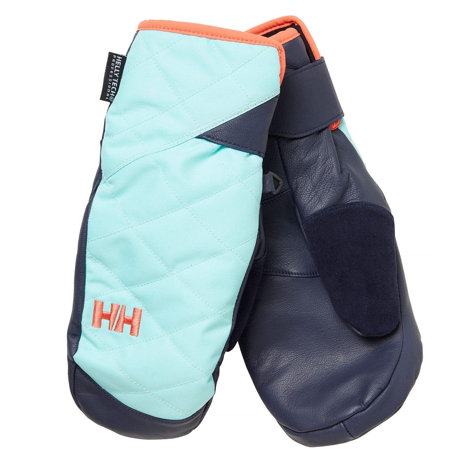 Helly Hansen W Ullr Leather Ht Mittens Womens Blue L
