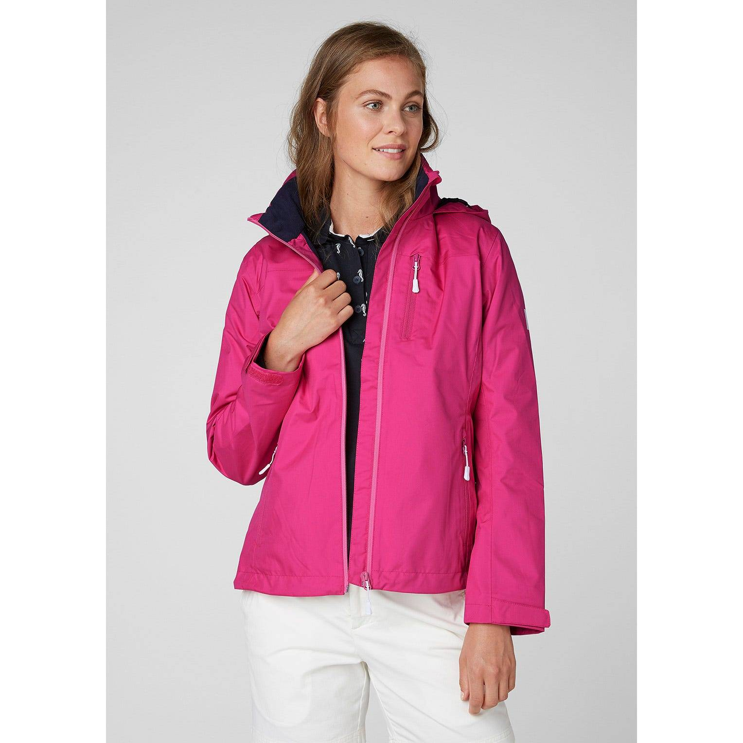 Helly Hansen W Crew Hooded Midlayer Jacket Womens Sailing Pink XL
