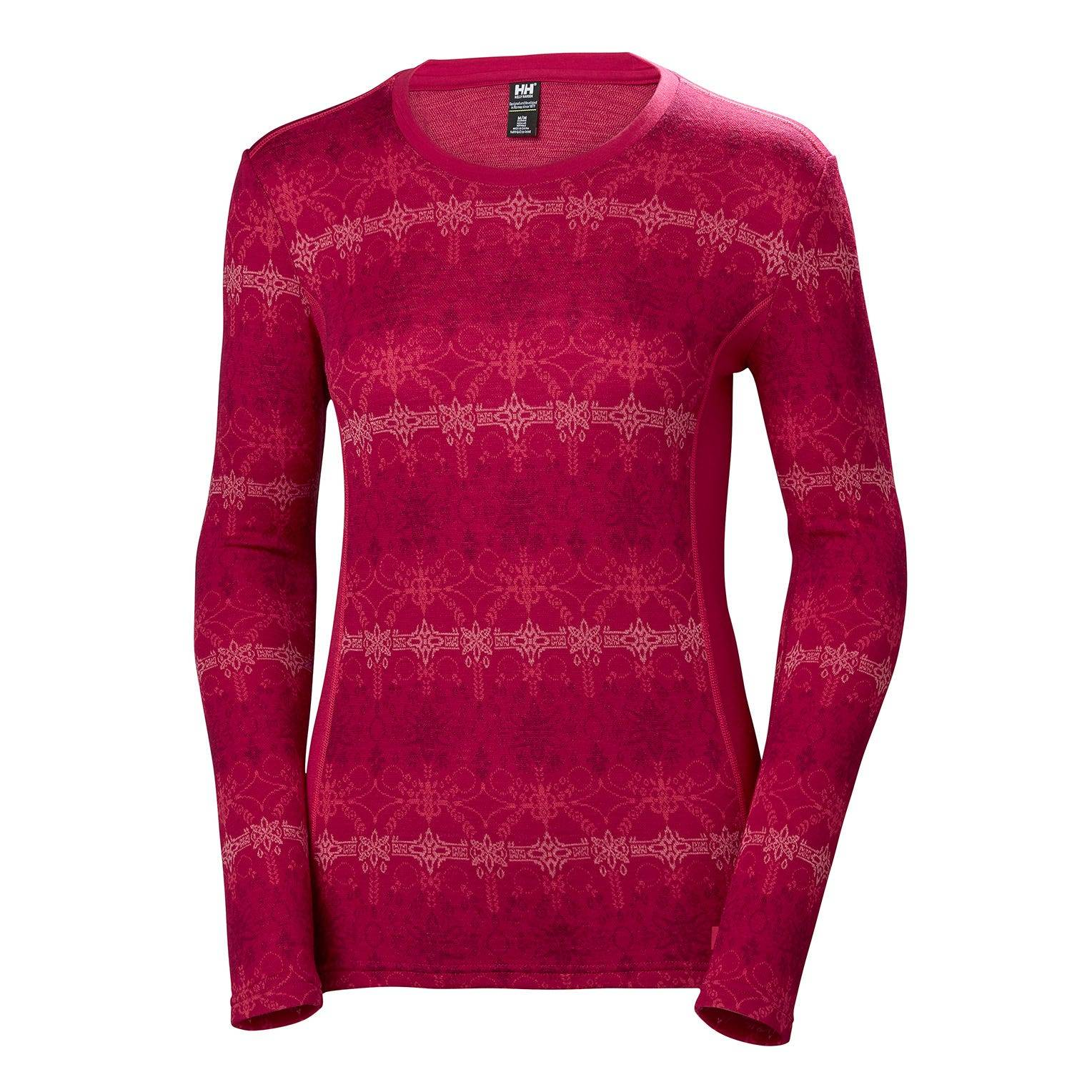 Helly Hansen W Merino Mid GraphicLong Sleeve Womens Baselayer Pink M