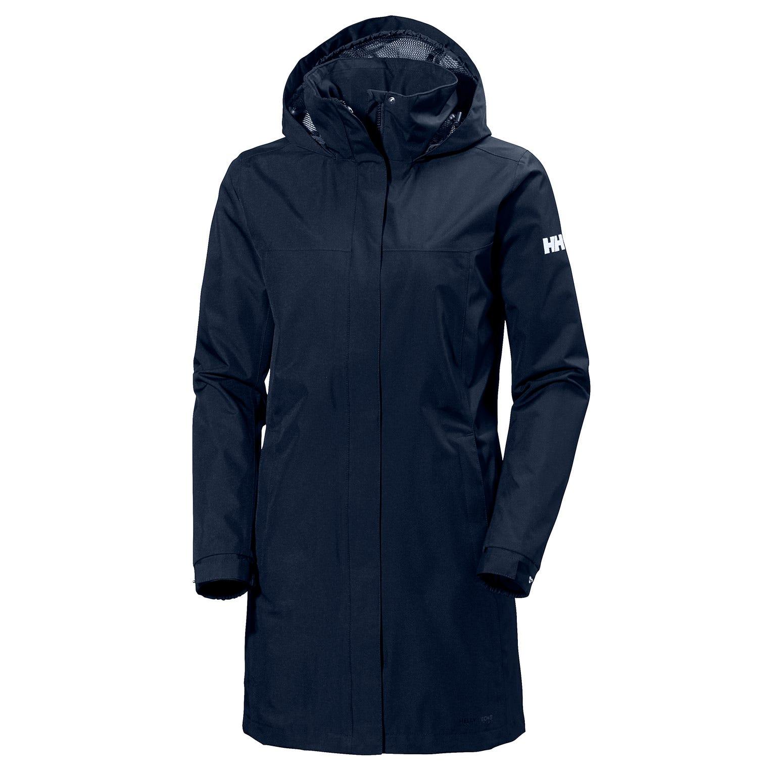 Helly Hansen W Aden Long Coat Womens Rain Jacket Navy L