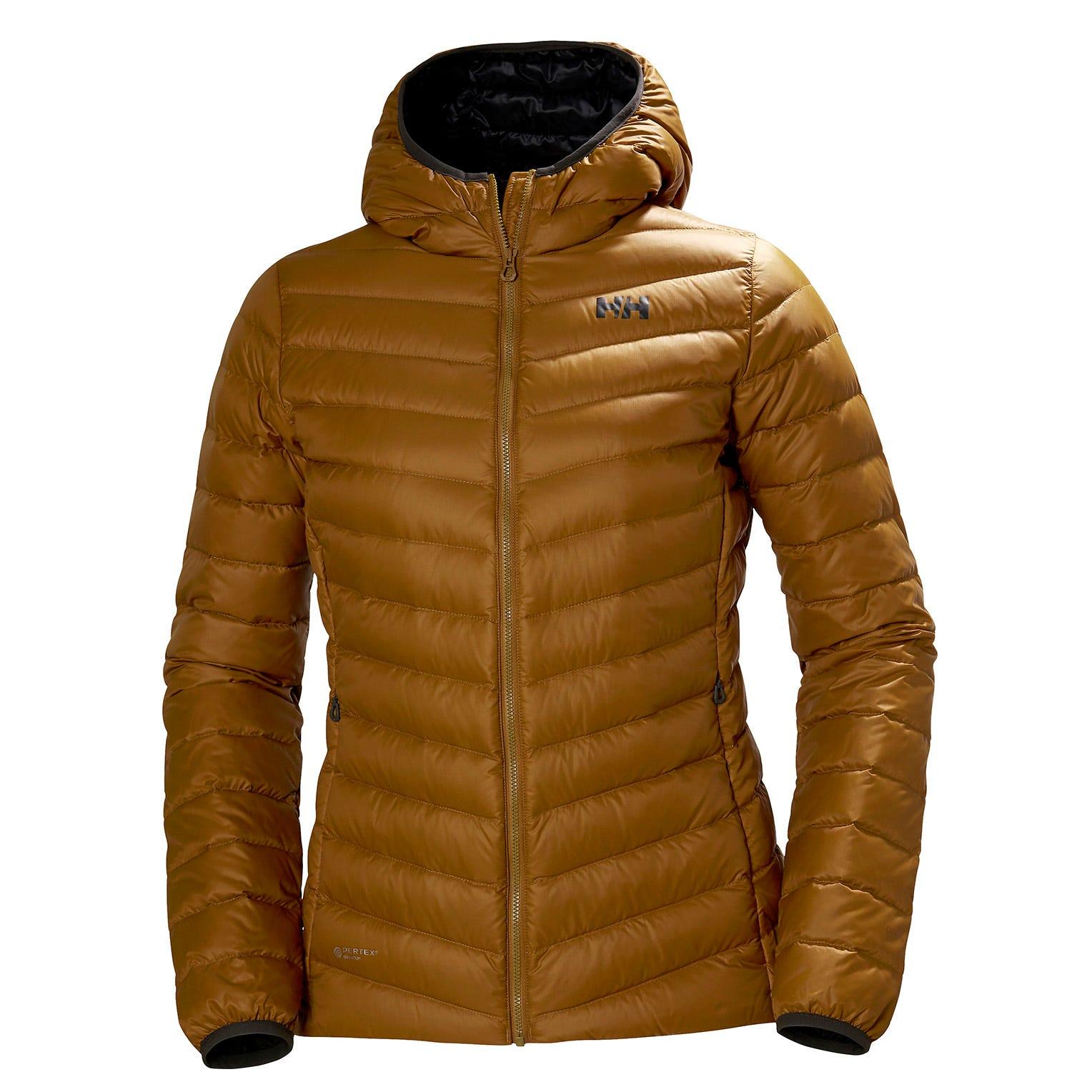 Helly Hansen W Verglas Hooded Down Insulator Womens Hiking Jacket Brown L