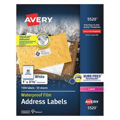 Avery 5520 Avery WeatherProof Mailing Labels with TrueBlock Technology for