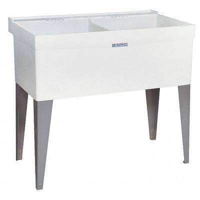 "MUSTEE ""MUSTEE 27F Laundry Tub, White, Floor Mount Bowl Size 24"""" x 20"""""""