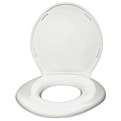 BIG JOHN 6W Toilet Seat, With Cover, ABS, PVC, Round or Elongated, White