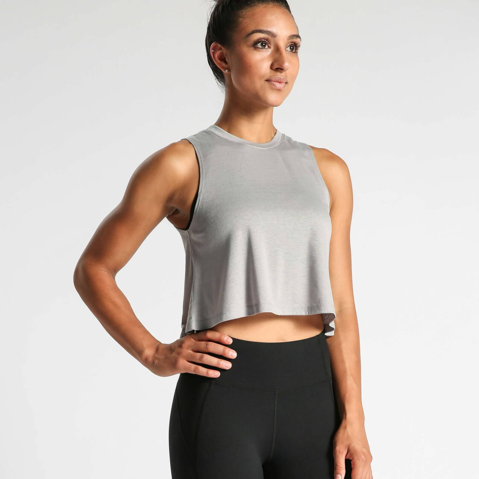 IdealFit Flowy Crop Top - Grey - L - Grey