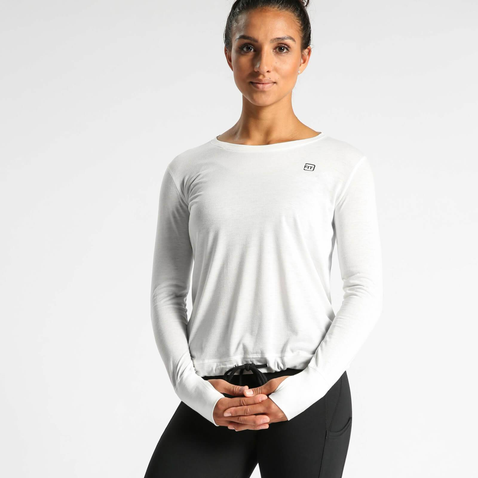 IdealFit Long Sleeve Keyhole Top - White - M - White