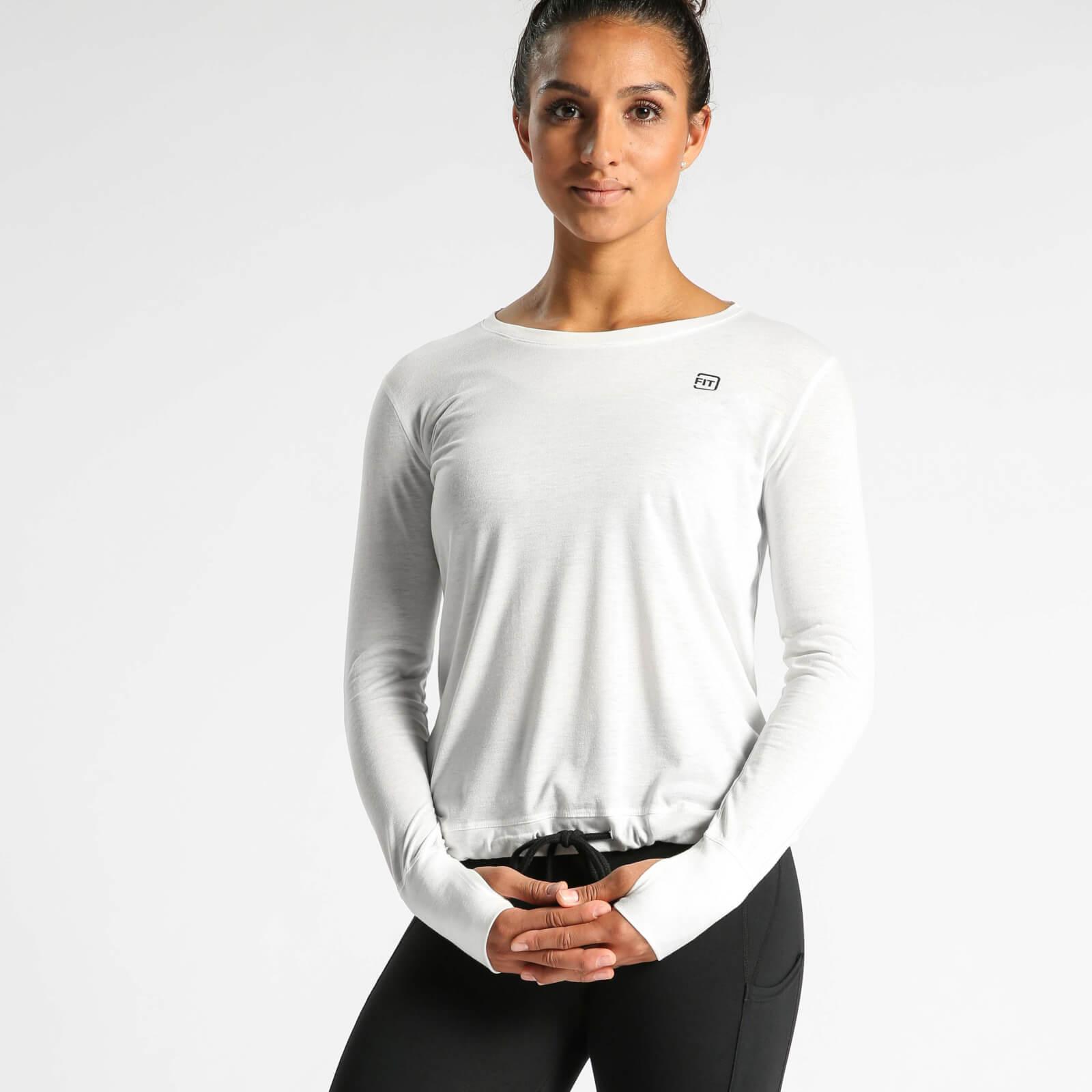 IdealFit Long Sleeve Keyhole Top - White - L - White