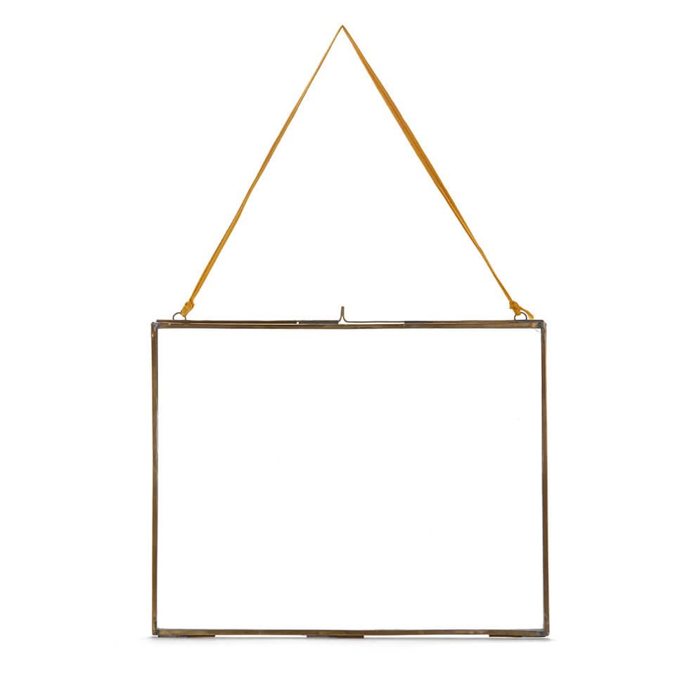 Nkuku Extra Large Kiko Antique Brass Glass Frame - Landscape 29x36cm
