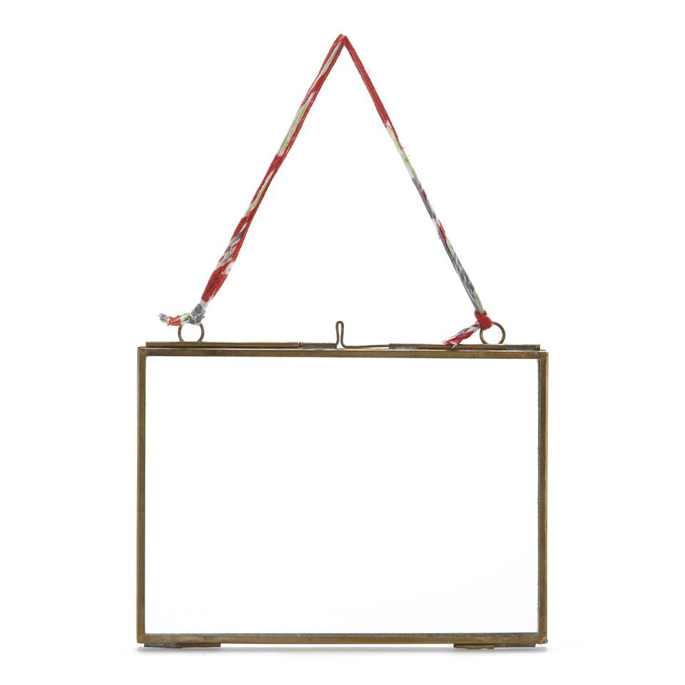 Nkuku Kiko Glass Frame - Antique Brass - Landscape 5  x 7  (13 x 18cm)