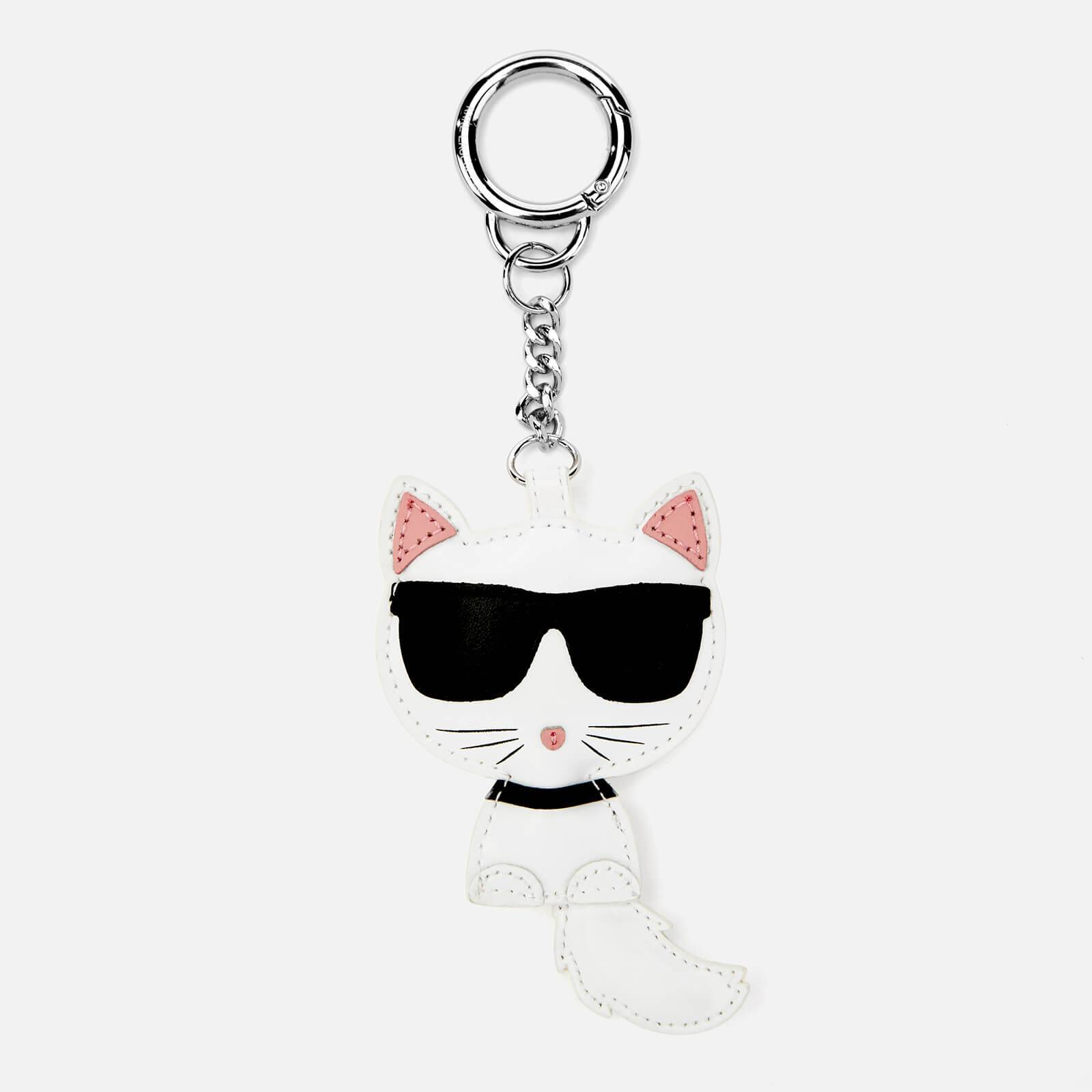 Karl Lagerfeld Women's Leather Choupette Keychain - White