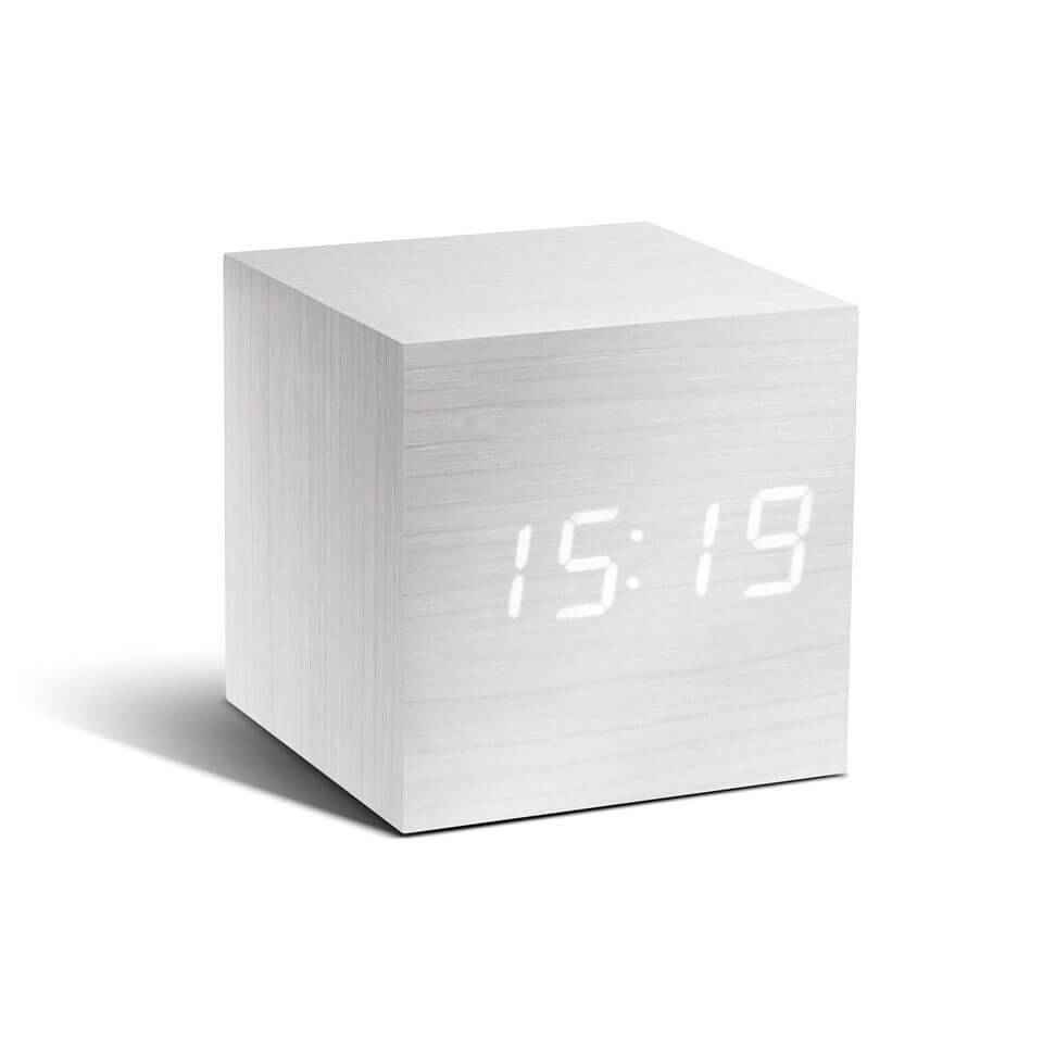 Gingko Cube Click Clock - White