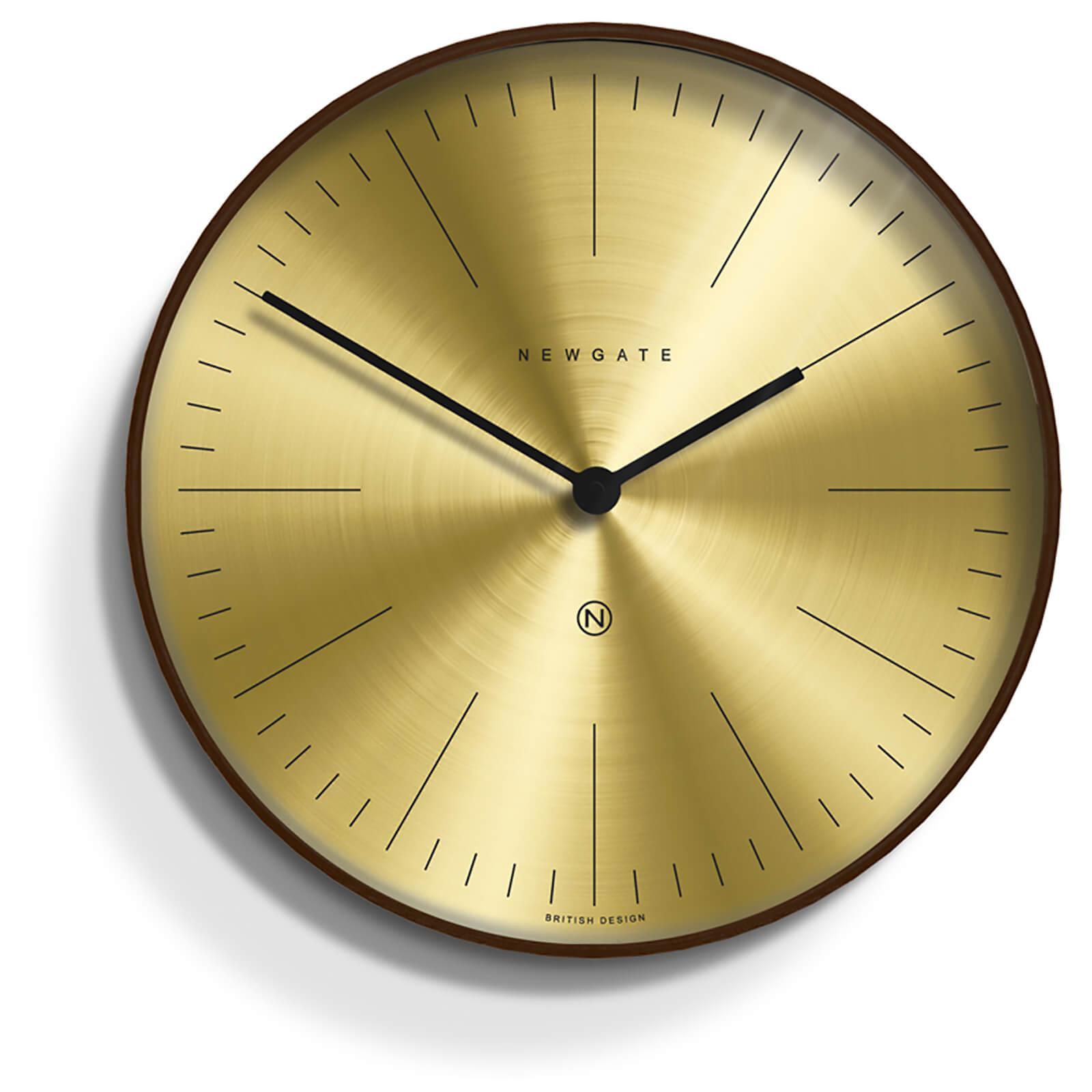 Newgate Mr Clarke Wall Clock - Dark Wood - Brass Dial