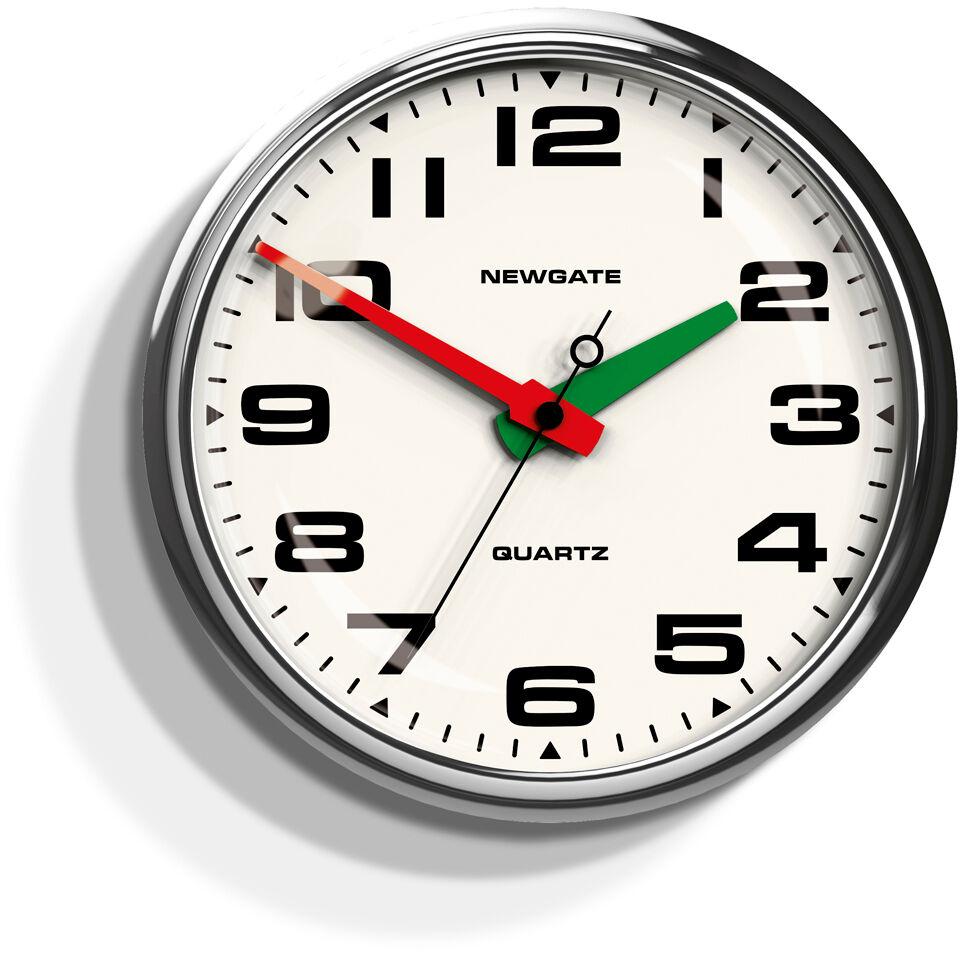 Newgate Brixton Silent Wall Clock - Chrome