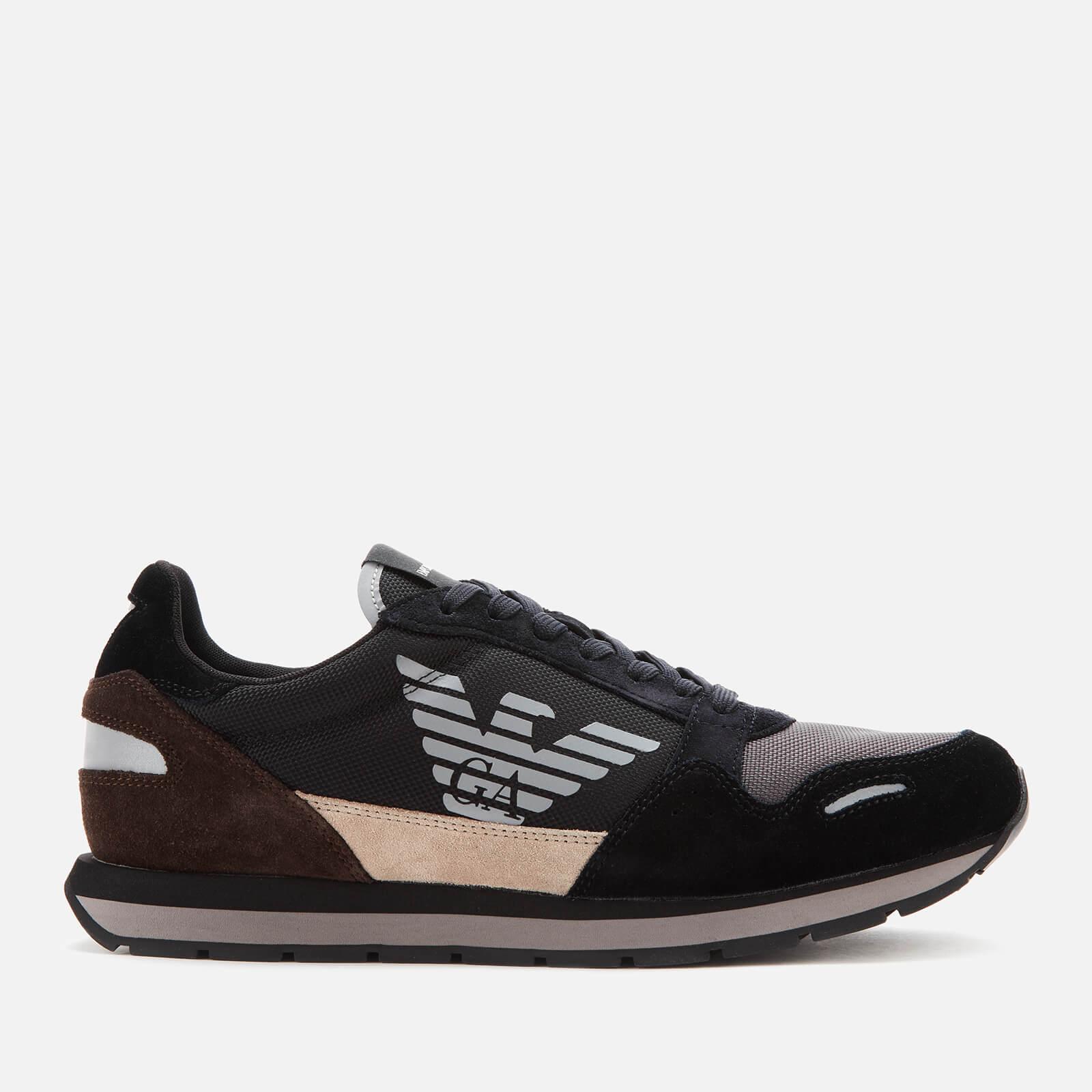 Emporio Armani s Zone Running Style Trainers - Black/Earth/Dark Brown - EU 41/UK 7 - Black