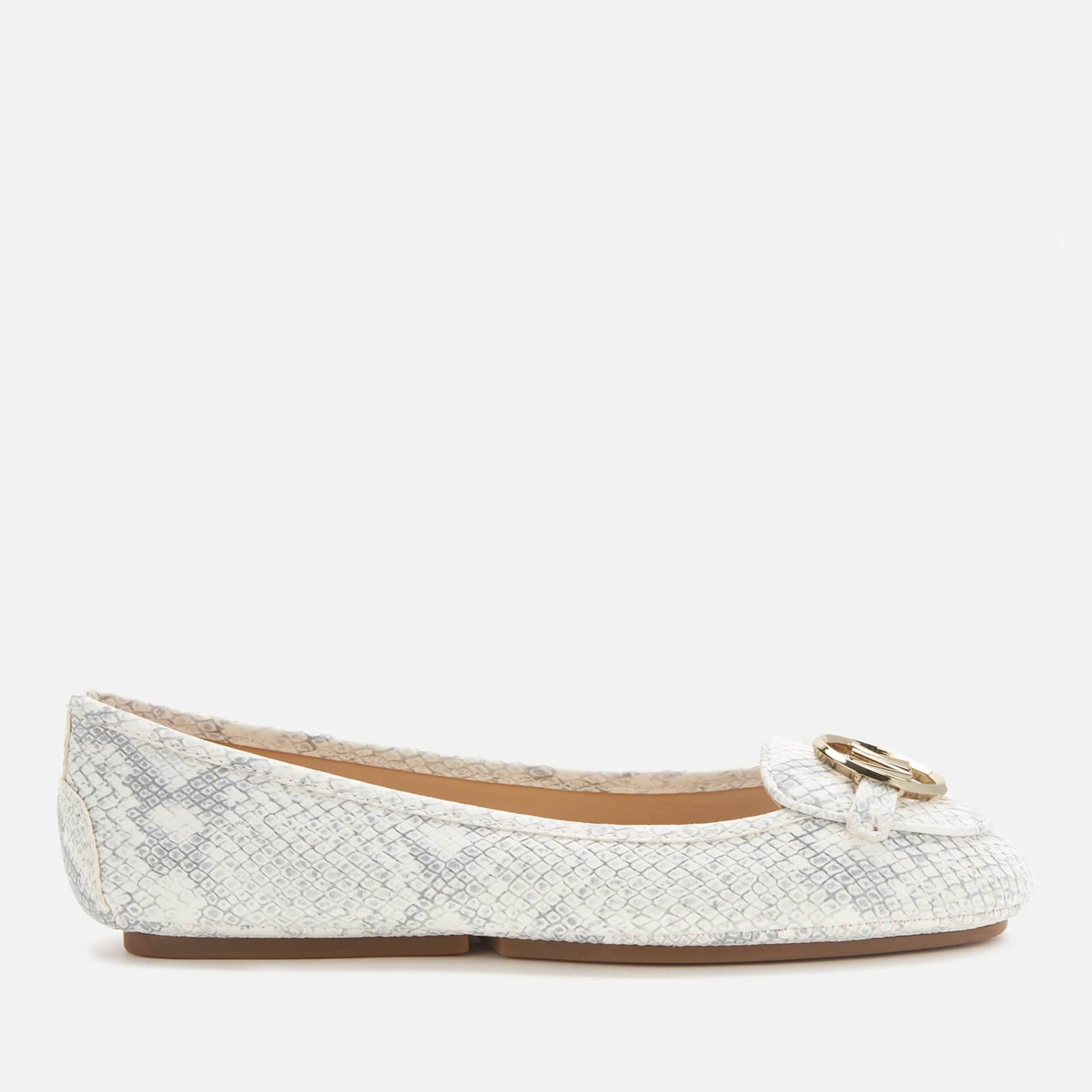MICHAEL MICHAEL KORS Women's Lillie Moc Python Embossed Leather Flats - Natural - UK 5/US 8