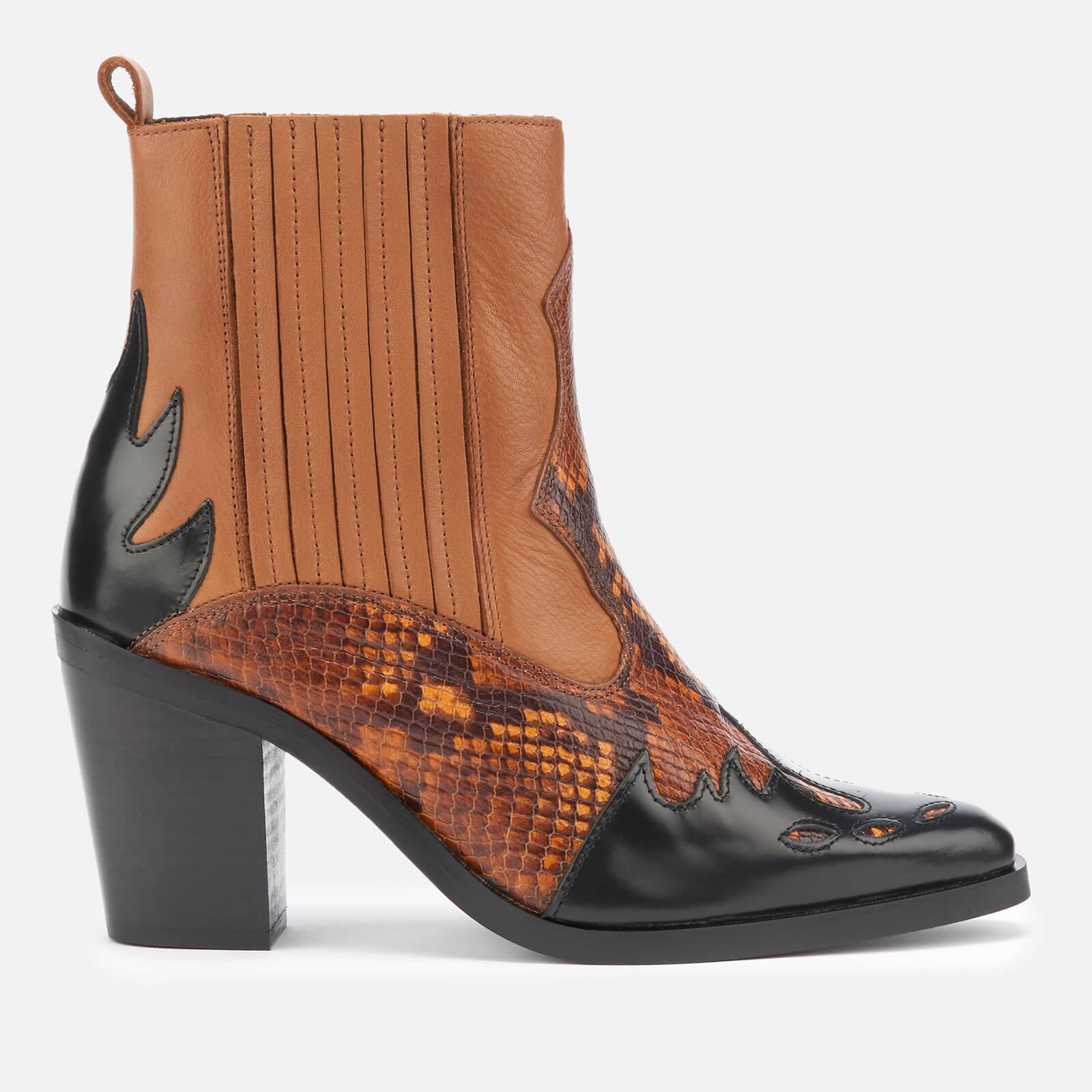 Kurt Geiger London Women's Damen Leather Western Style Boots - Tan Comb - UK 5