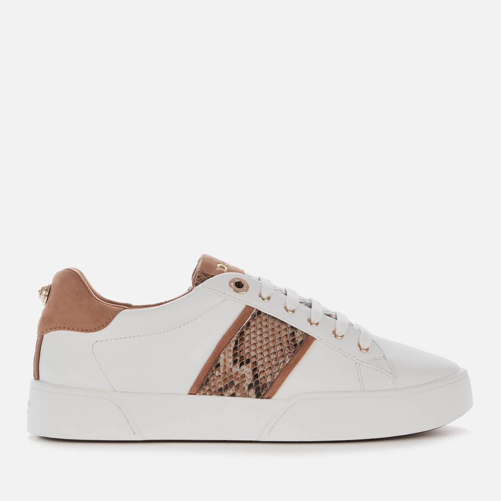 Dune Women's Elsie S Leather Low Top Trainers - White Reptile Print - UK 8