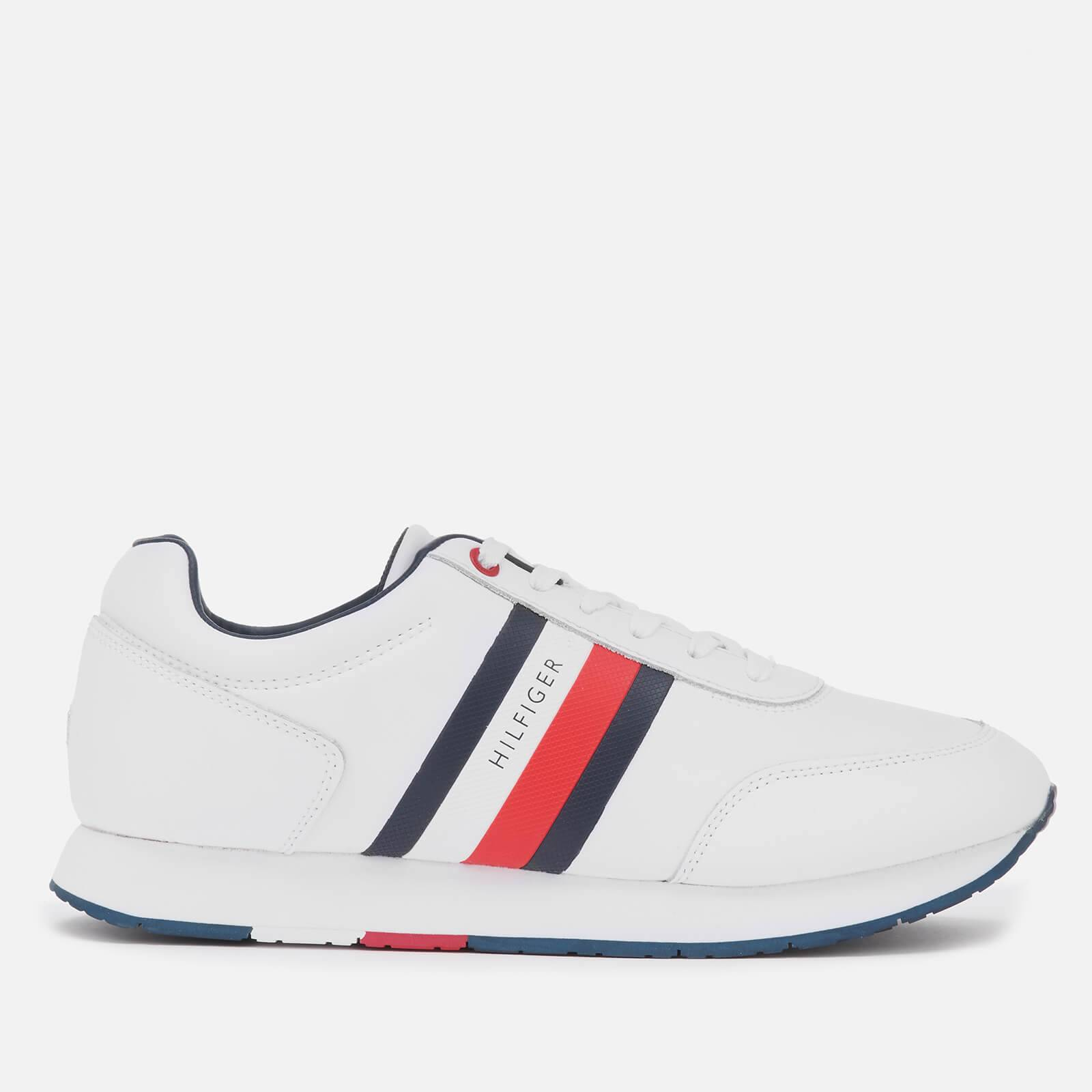 Tommy Hilfiger Men's Corporate Leather Flag Running Style Trainers - White - UK 11