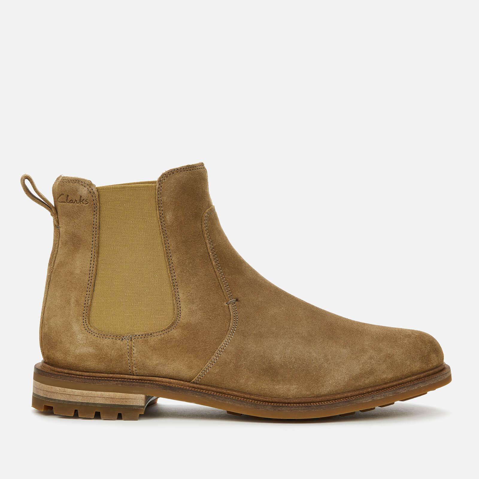 Clarks Men's Foxwell Top Suede Chelsea Boots - Dark Sand - UK 7