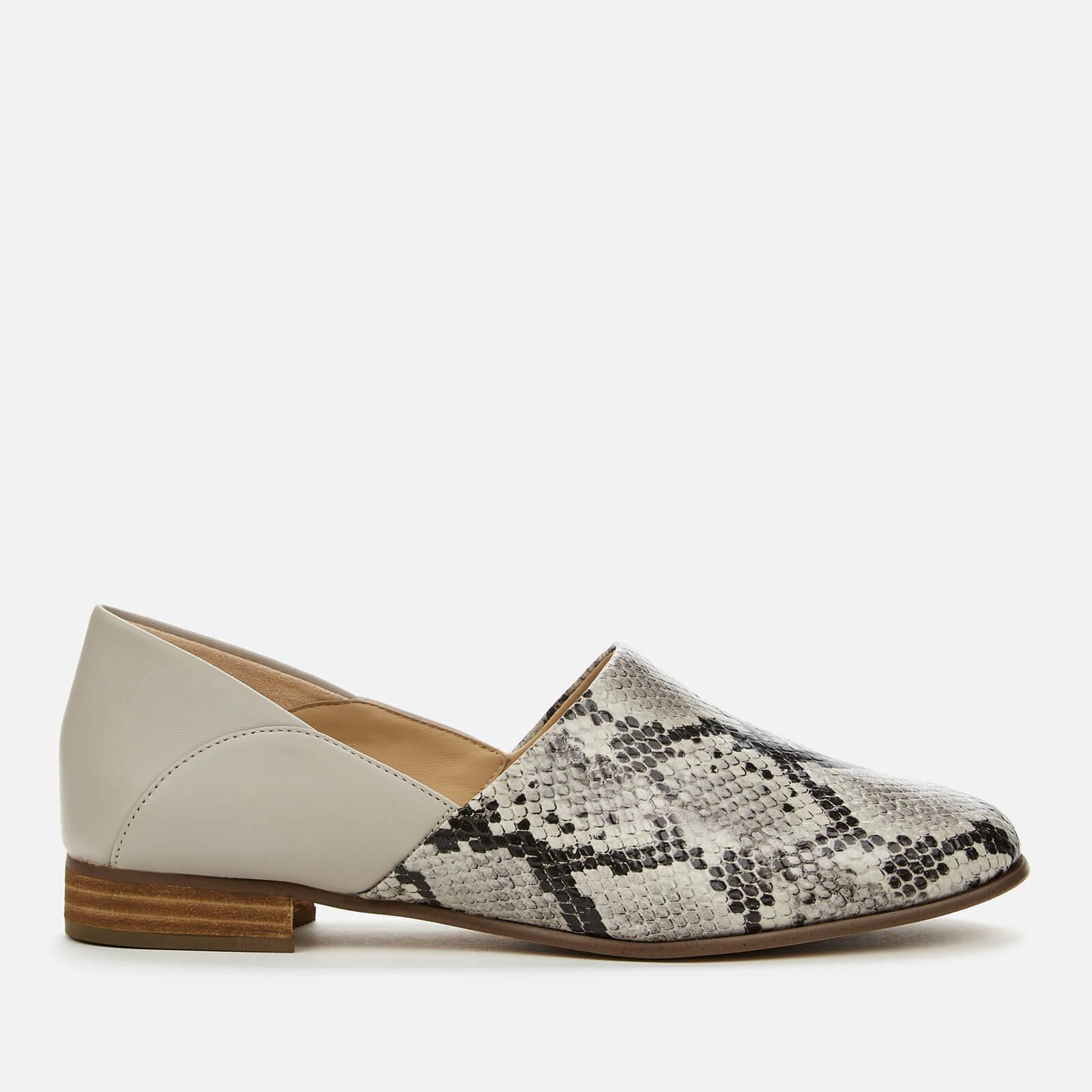 Clarks Women's Pure Tone Flat Shoes - Grey Snake - UK 4