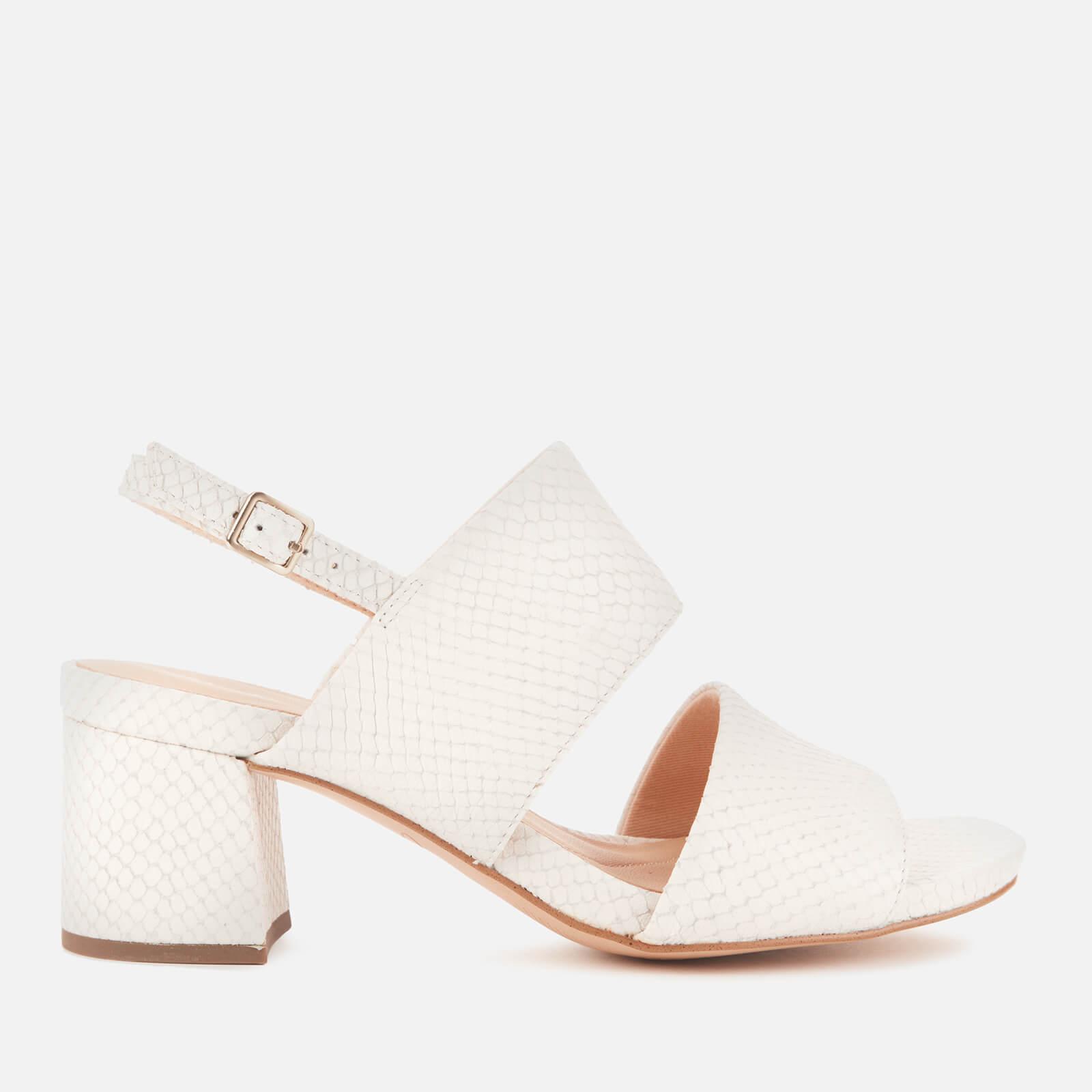 Clarks Women's Sheer55 Sling Block Heeled Sandals - White Snake - UK 3