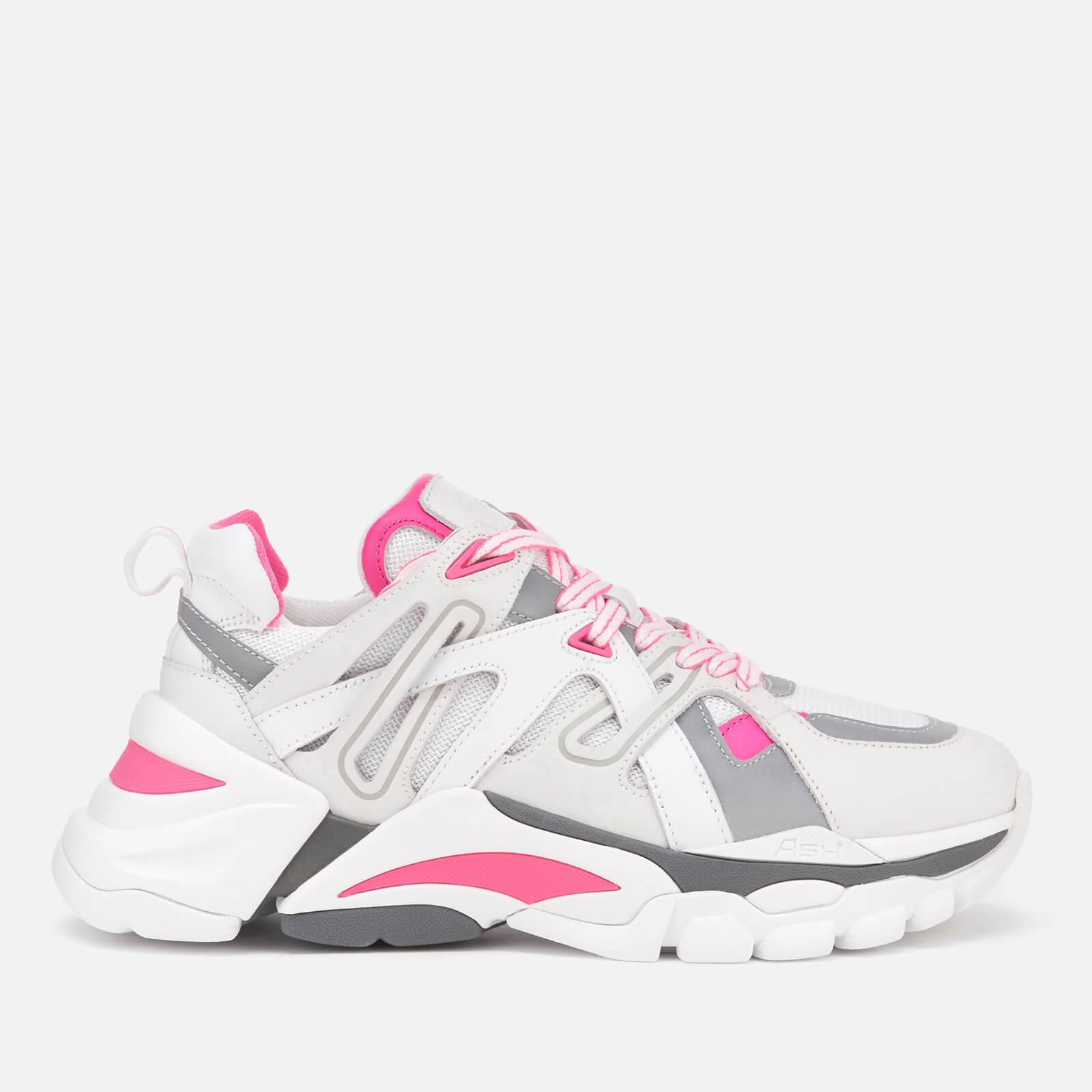 Ash Women's Flash Running Style Trainers - White/Silver/Fluo Pink - UK 7