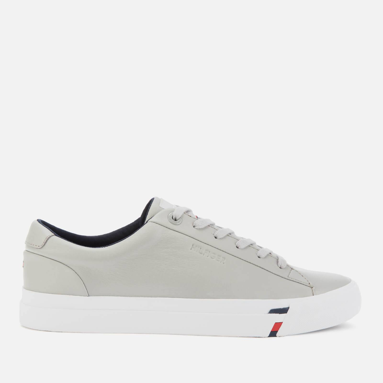 Tommy Hilfiger Men's Corporate Leather Trainers - Antique Silver - EU 45/UK 10.5