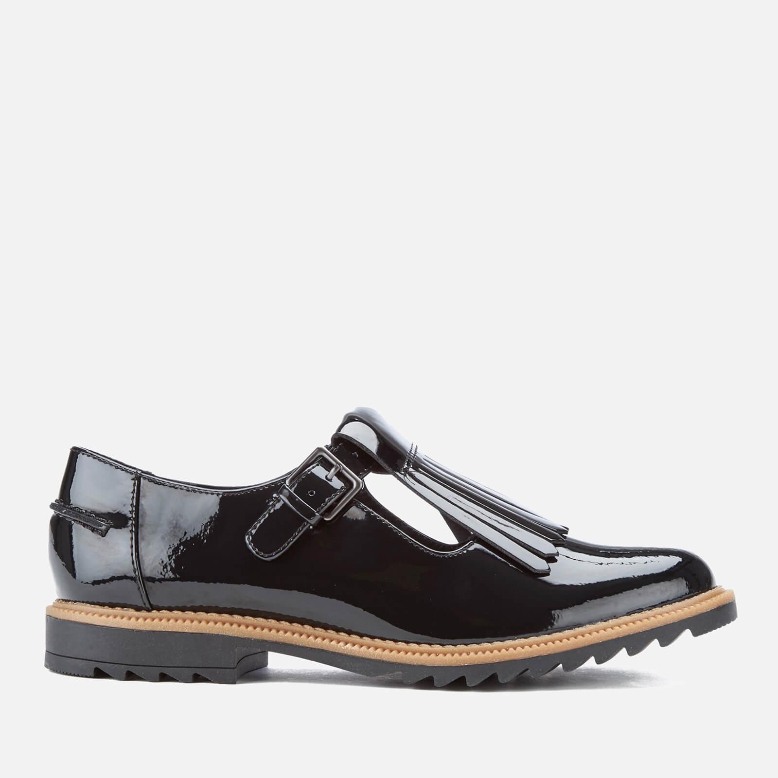 Clarks Women's Griffin Mia Patent Frill T Bar Shoes - Black - UK 8 - Black