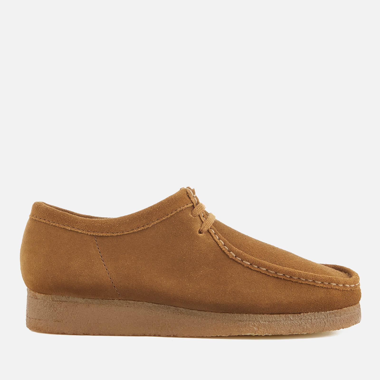 Clarks Originals Men's Wallabee Suede Shoes - Cola - UK 8 - Tan