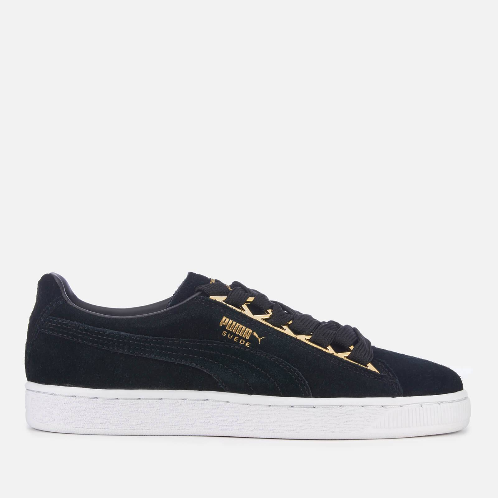 Puma Women's Suede Jewel Metallic Trainers - Puma Black - UK 7 - Black