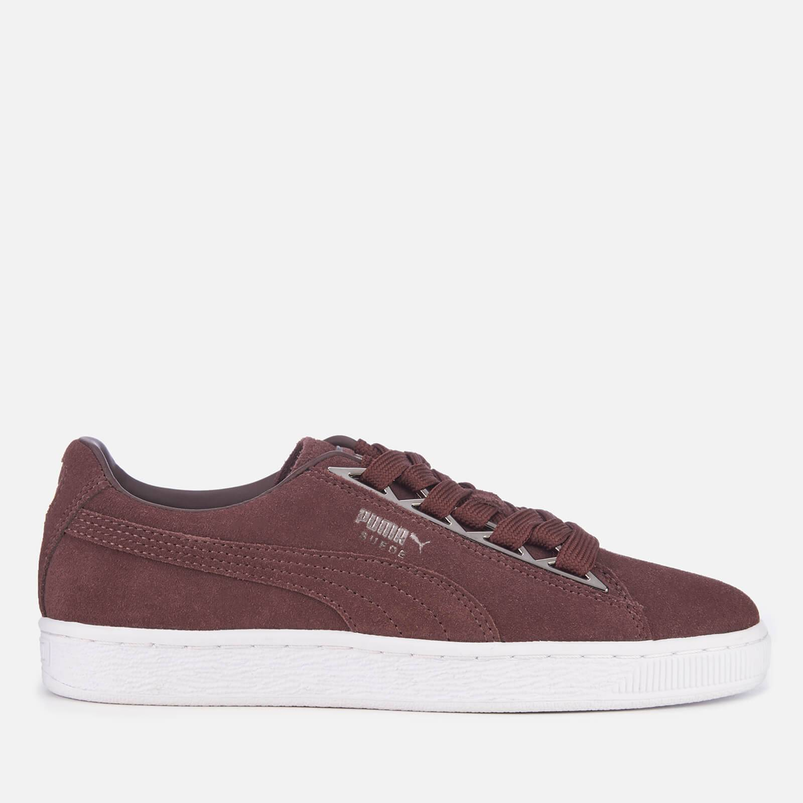 Puma Women's Suede Jewel Metallic Trainers - Peppercorn - UK 6 - Burgundy/Purple