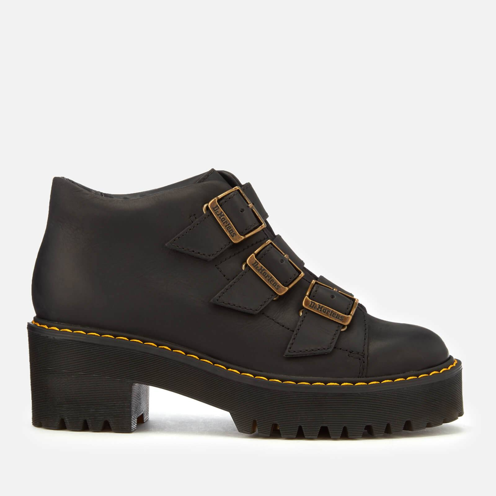 Dr. Martens Women's Coppola Leather Buckle Heeled Boots - Black - UK 4 - Black