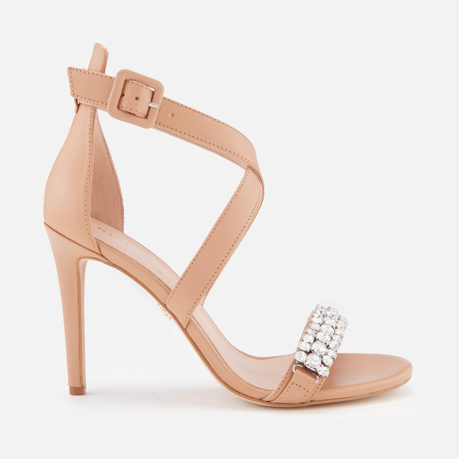 Kurt Geiger London Women's Knightsbridge Crystal Leather Heeled Sandals - Camel - UK 3 - Beige