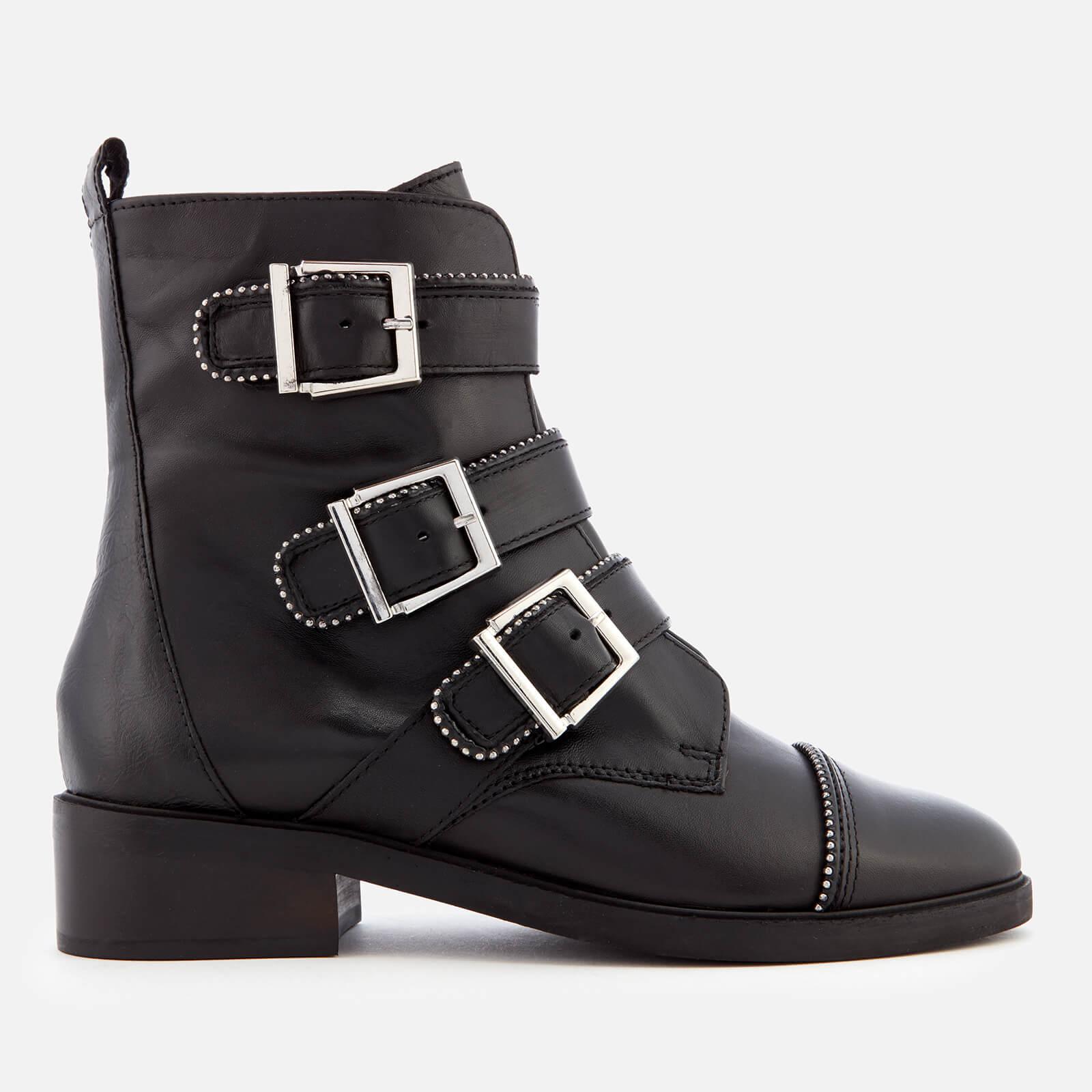 Carvela Women's Sparse Leather Buckle Biker Boots - Black - UK 3 - Black