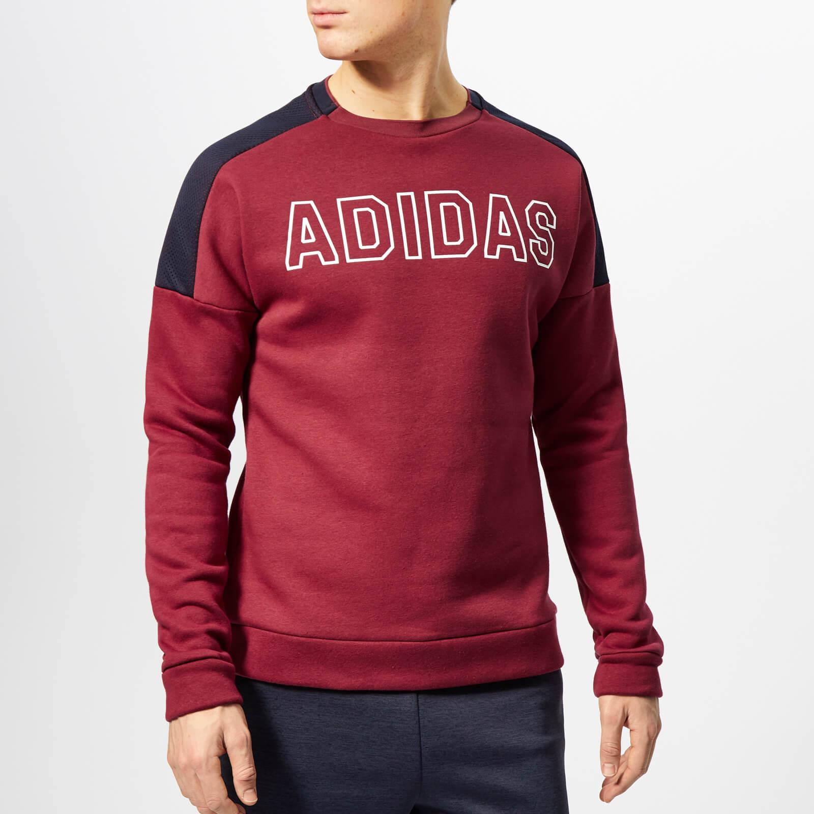 adidas Men's Sport ID Crew Neck Sweatshirt - Noble Maroon - XL - Red