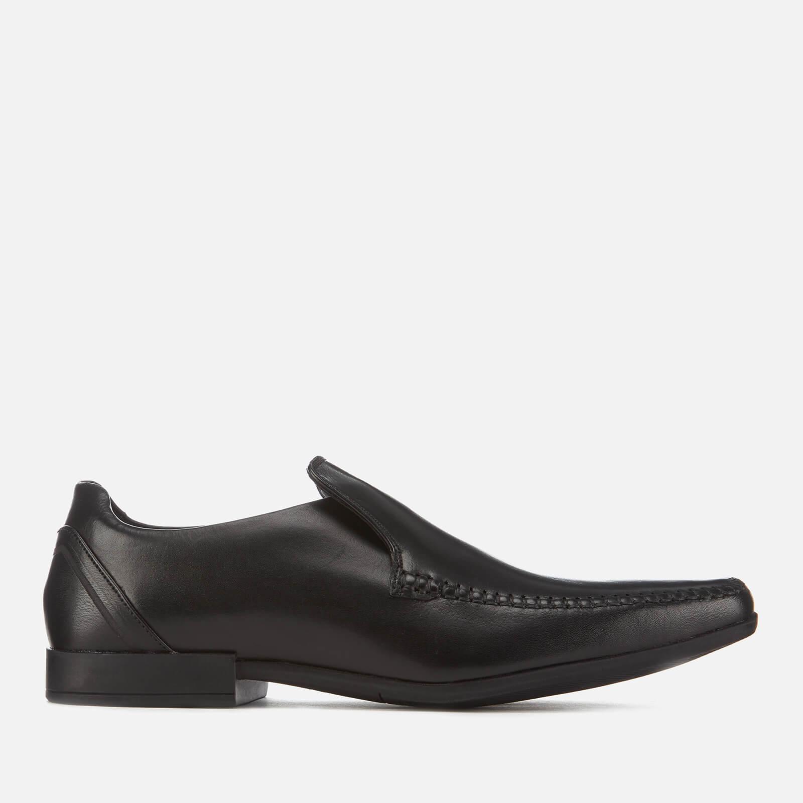 Clarks Men's Glement Seam Leather Slip-On Shoes - Black - UK 8