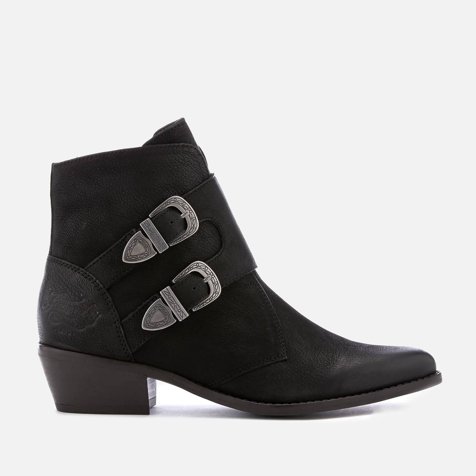 Superdry Women's Rodeo Monk Heeled Ankle Boots - Black - UK 3 - Black