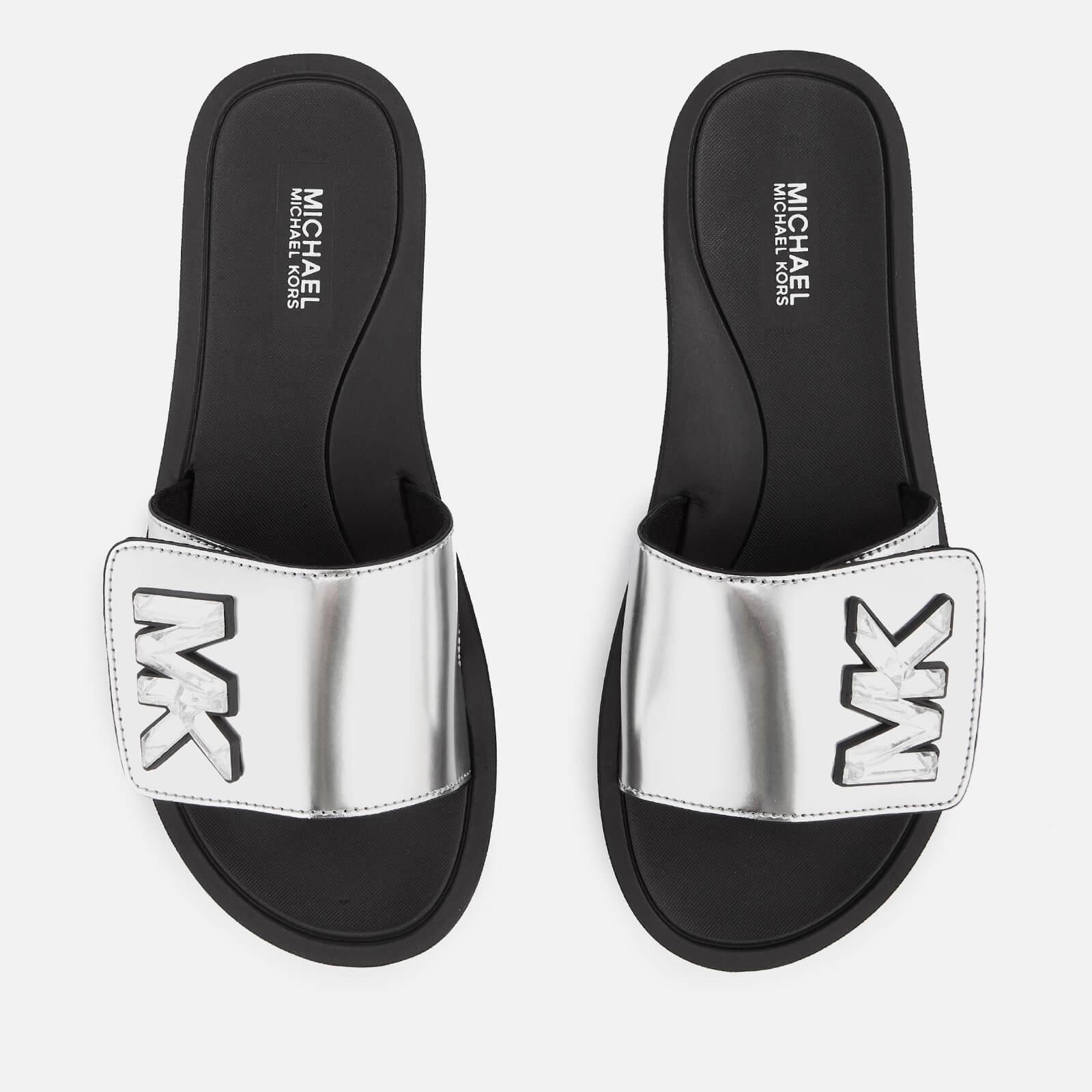 MICHAEL MICHAEL KORS Women's MK Slide Sandals - Silver - UK 7/US 10 - Silver