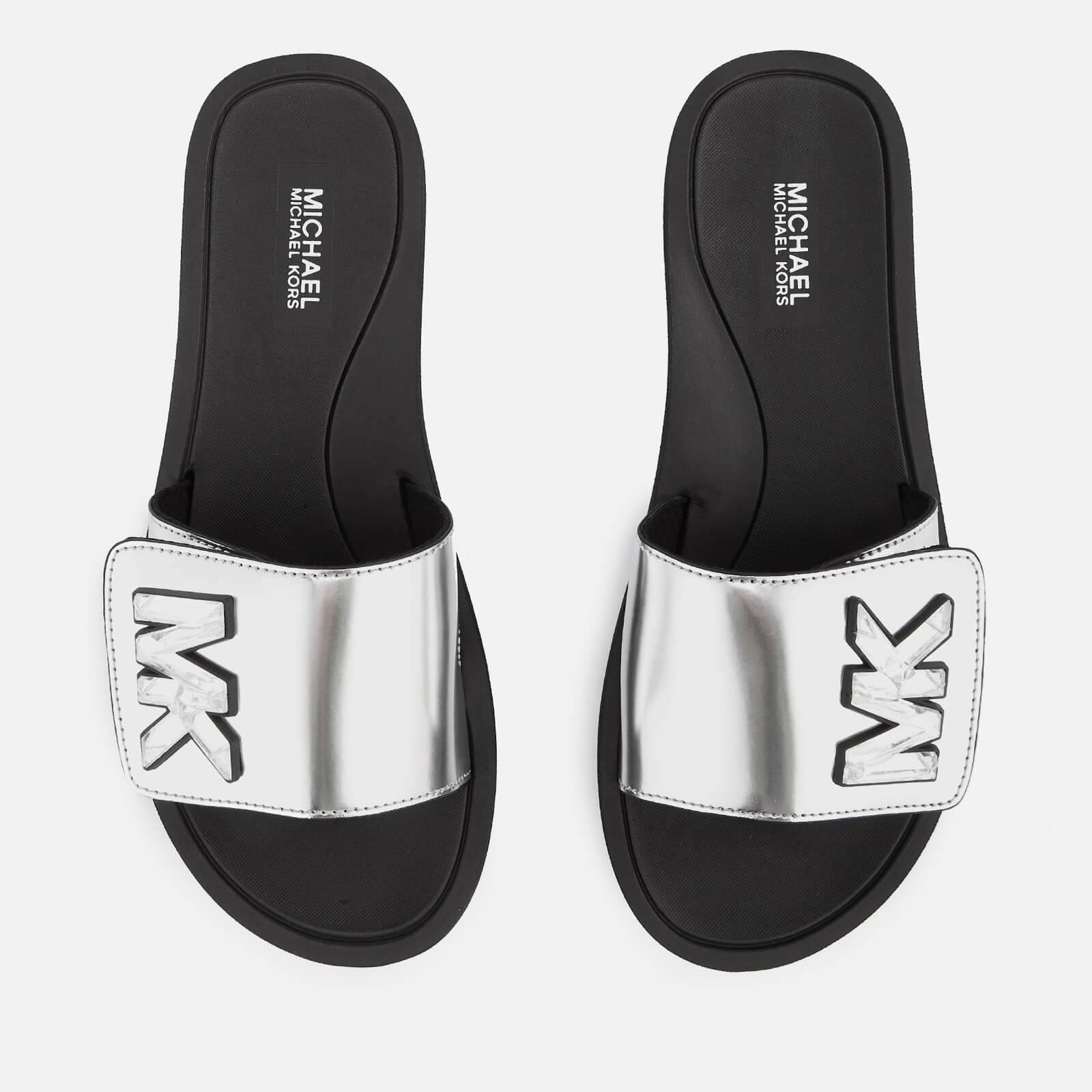 MICHAEL MICHAEL KORS Women's MK Slide Sandals - Silver - UK 7/US 10 - Silver