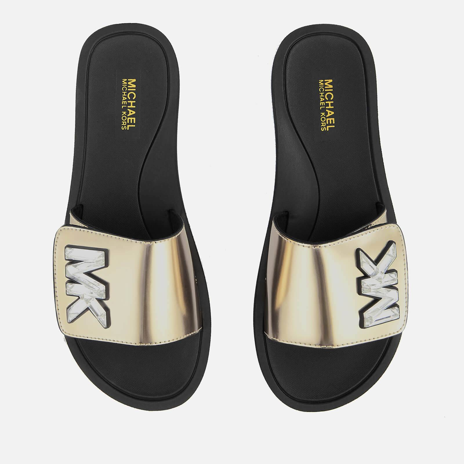 MICHAEL MICHAEL KORS Women's MK Slide Sandals - Pale Gold - UK 4/US 7 - Gold