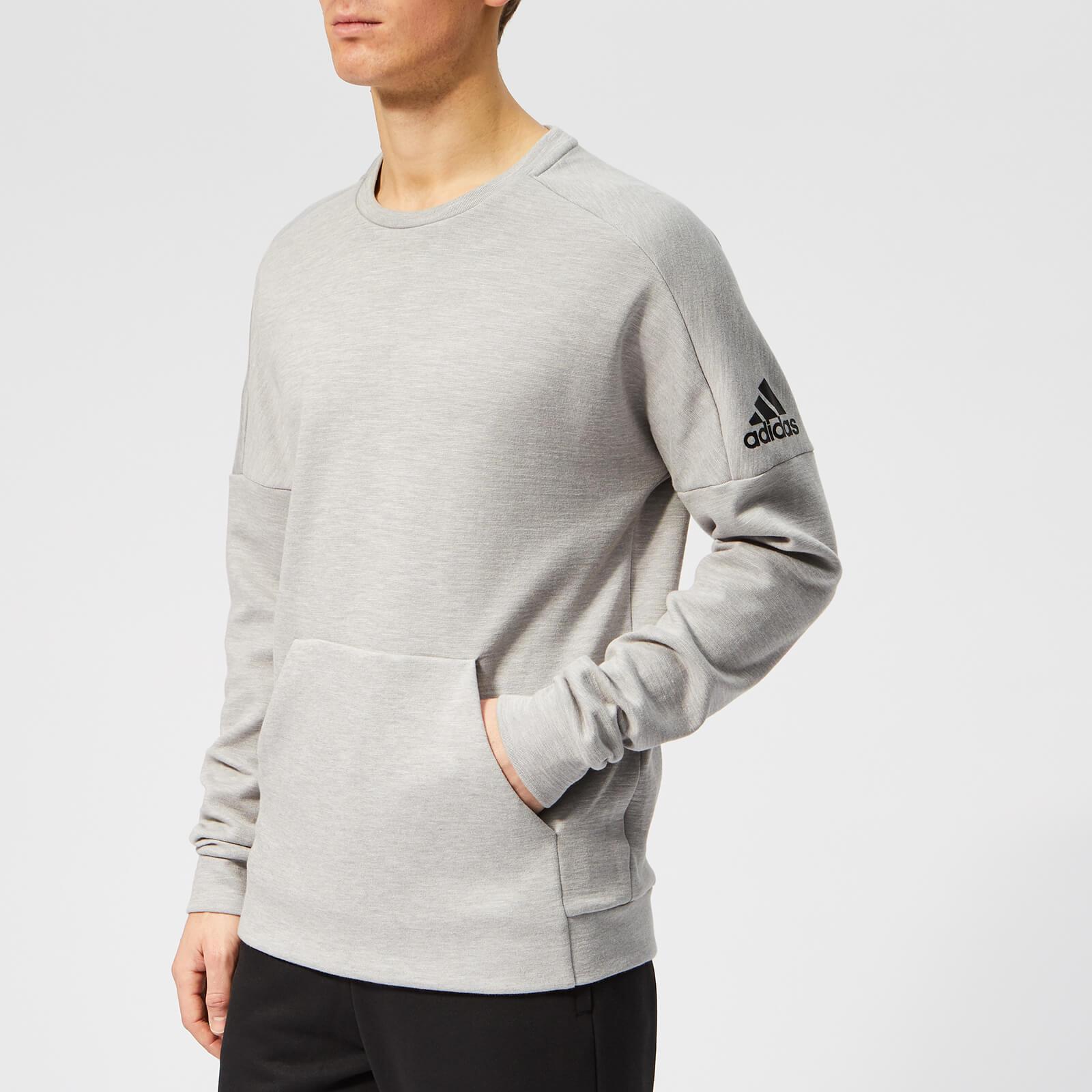 adidas Men's ID Stadium Crew Neck Sweatshirt - Grey Heather - L - Grey