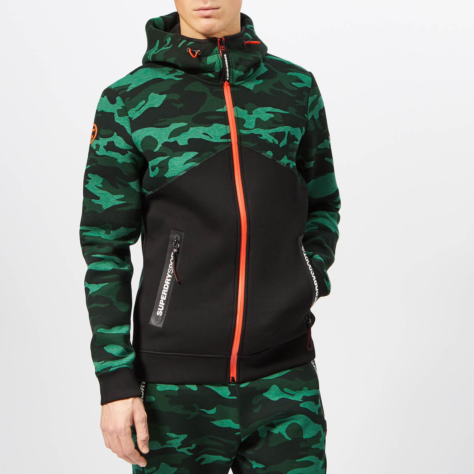 Superdry Sport Men's Gym Tech Spliced Zip Hoody - Forest Camo - XL - Green