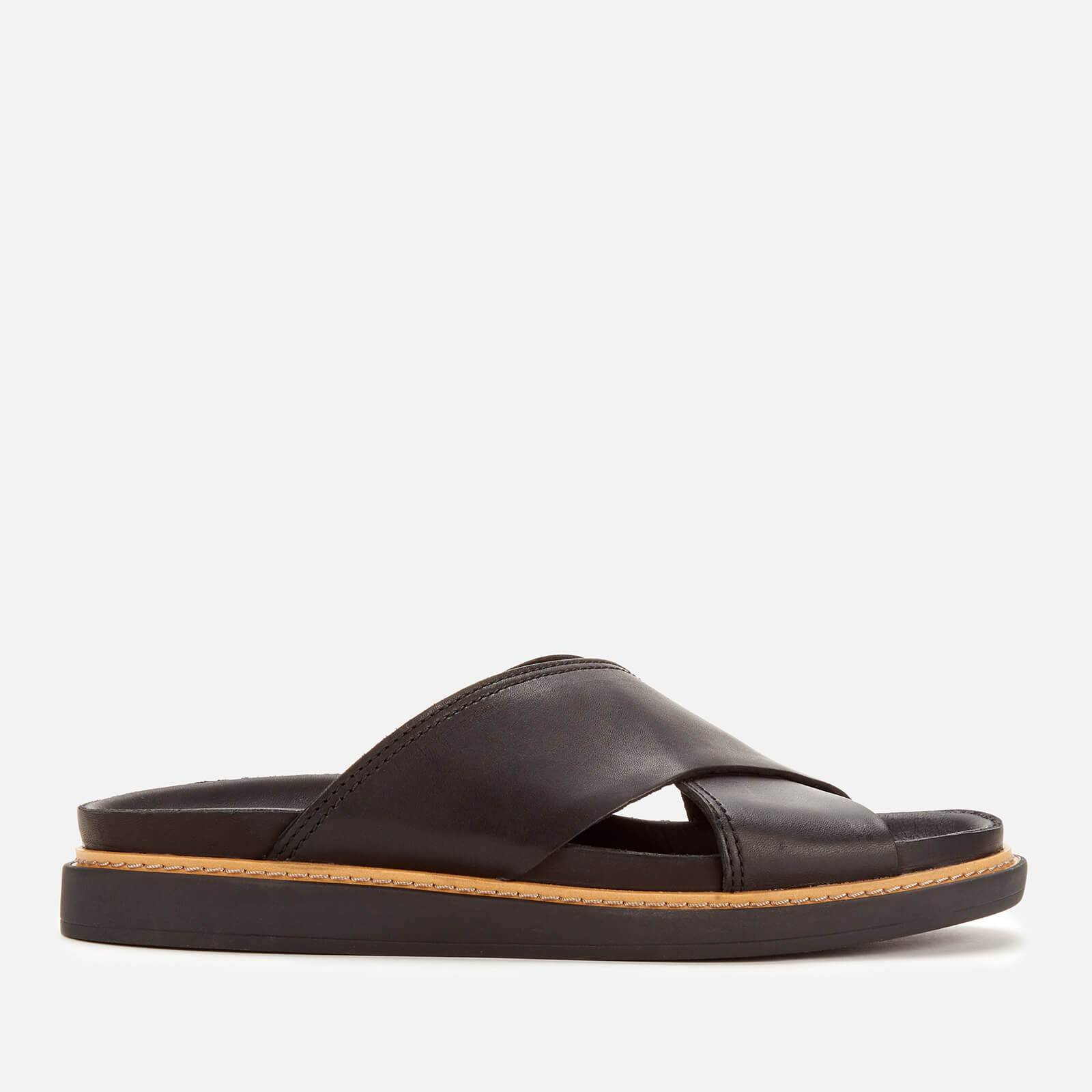 Clarks Women's Trace Drift Leather Cross Front Sandals - Black - UK 3 - Black