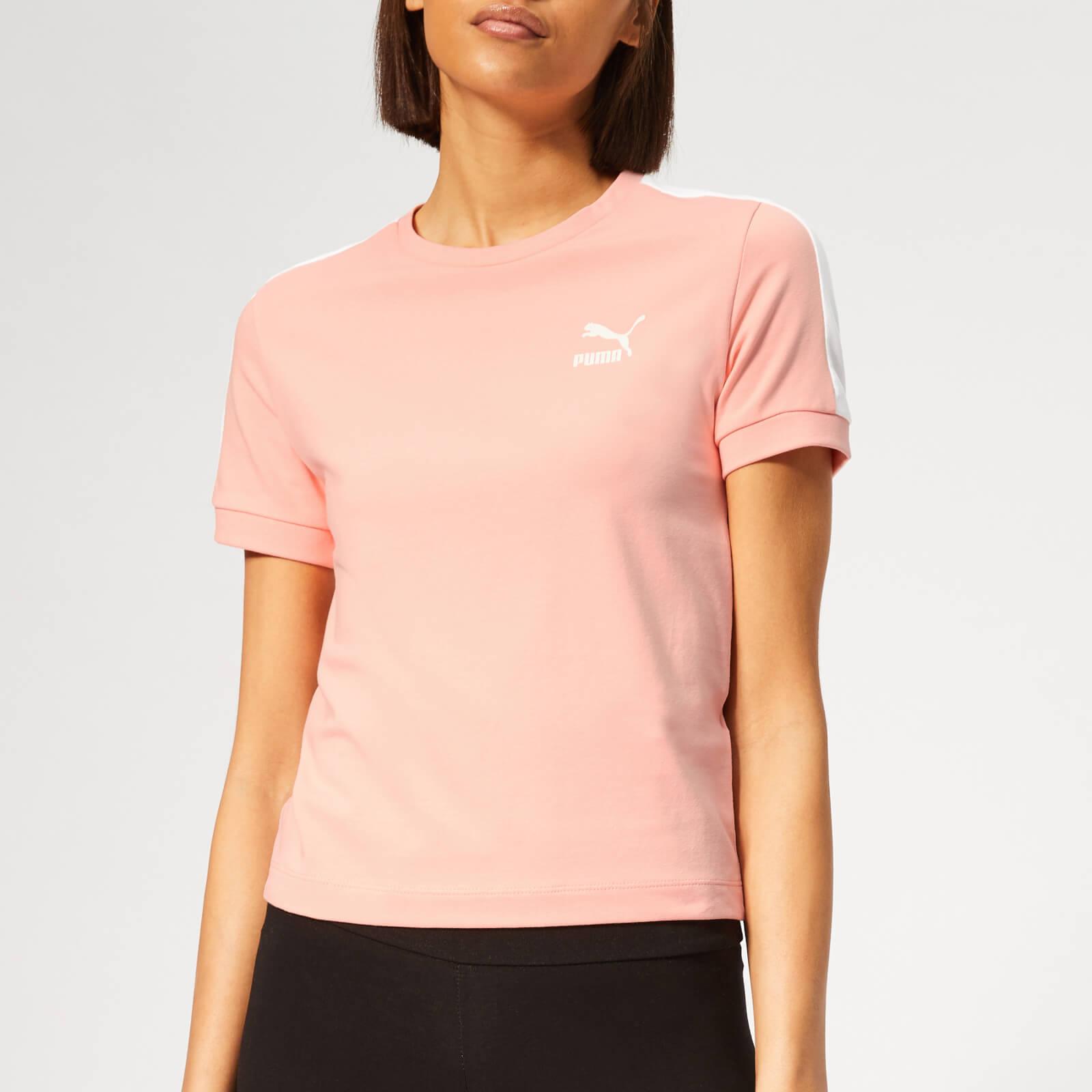 Puma Women's Classics T7 Short Sleeve T-Shirt - Peach Bud - S - Pink