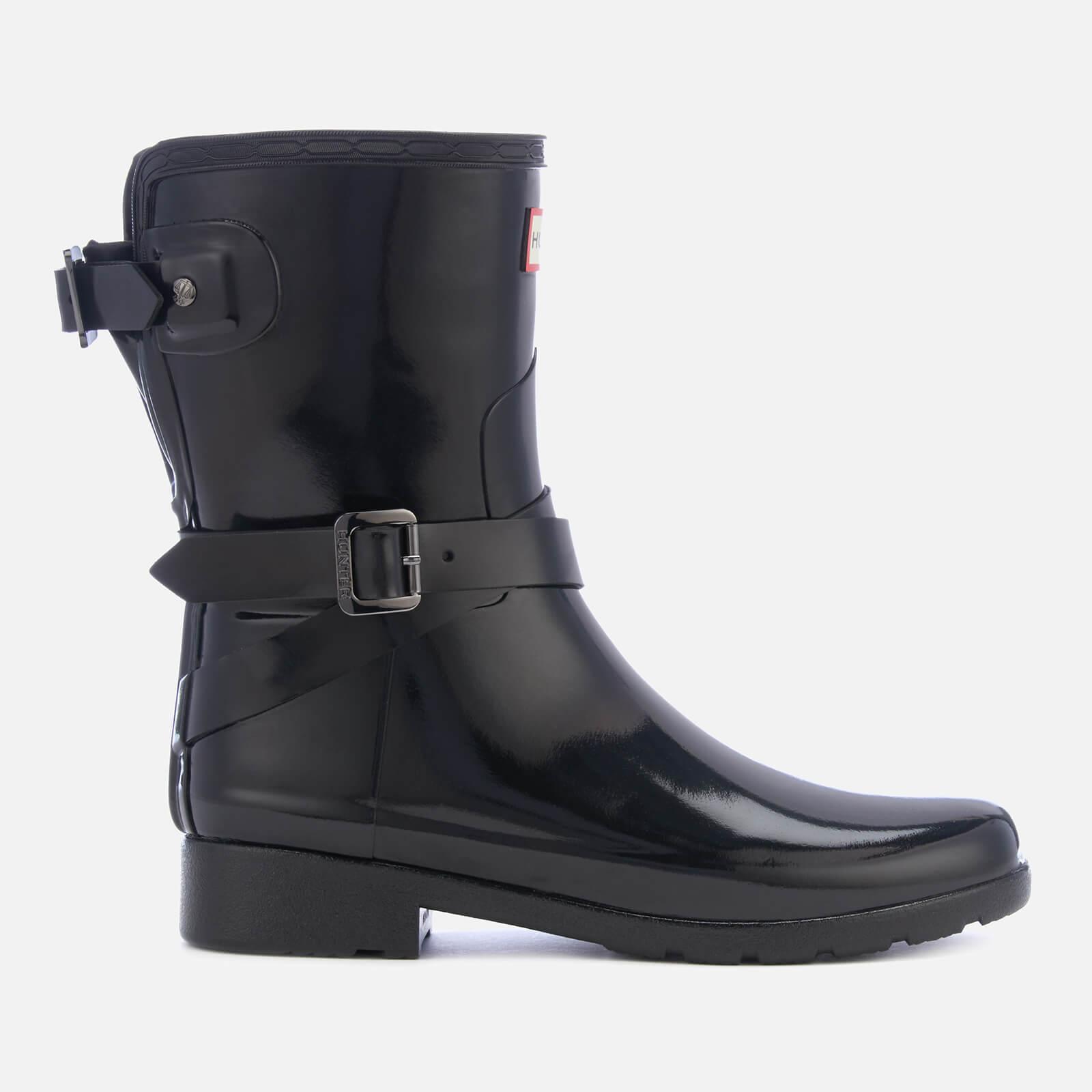 Hunter Women's Refined Back Adjustable Gloss Short Wellies - Black - UK 3 - Black