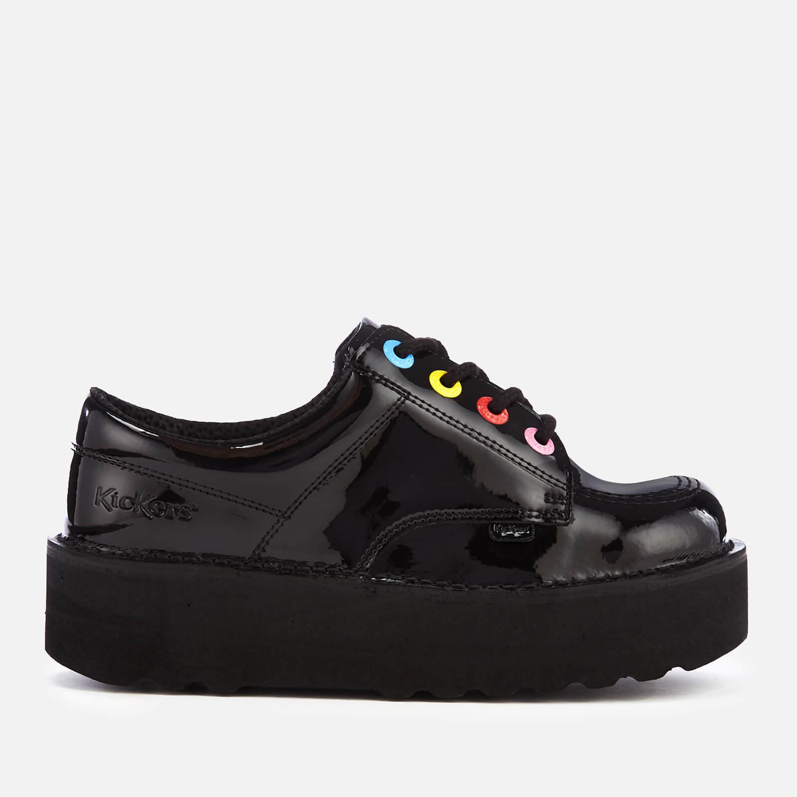 Kickers Women's Kick Lo Stack Patent Leather Shoes - Black/Multi - UK 6 - Black