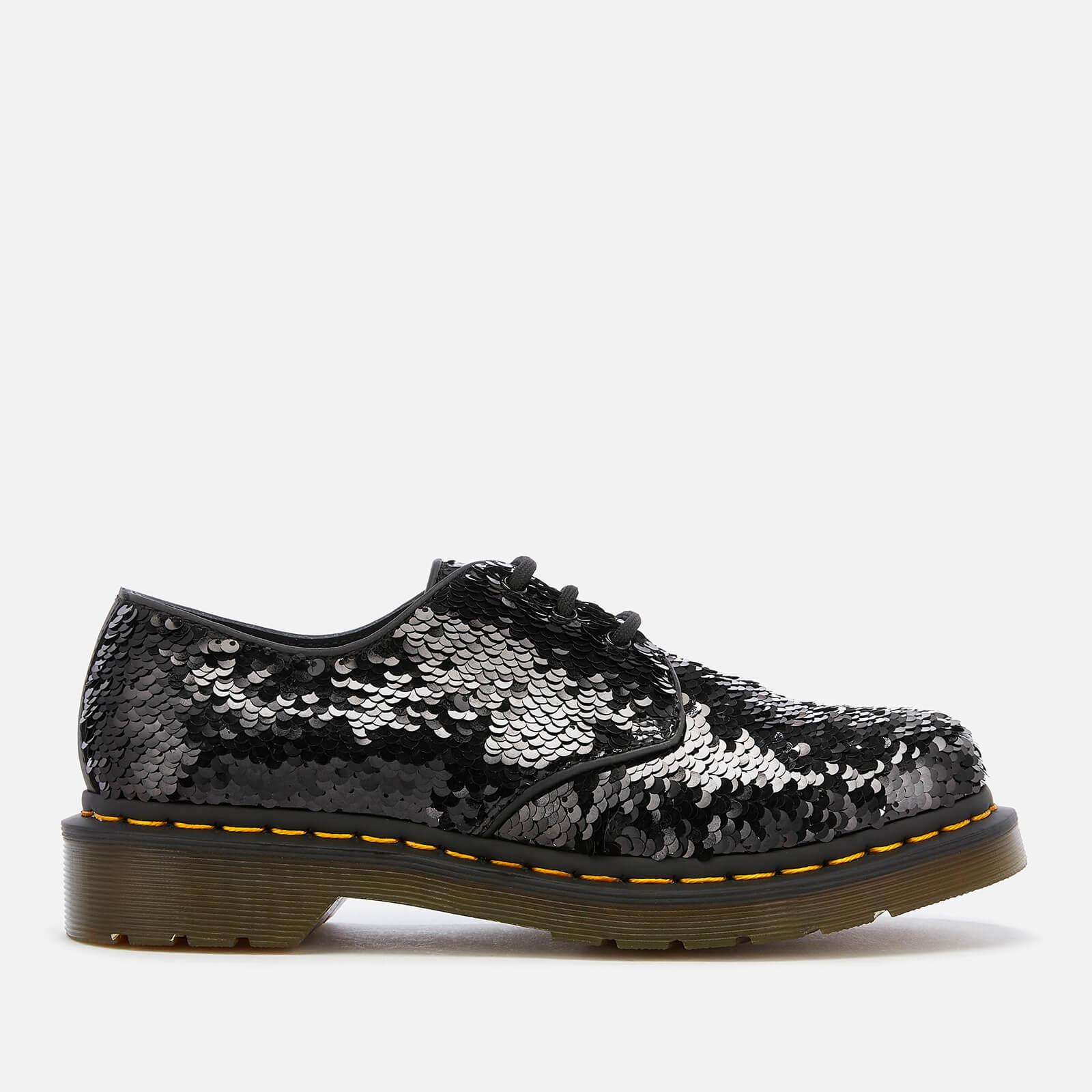 Dr. Martens Women's 1461 Sequin 3-Eye Shoes - Black/Silver - UK 3 - Black