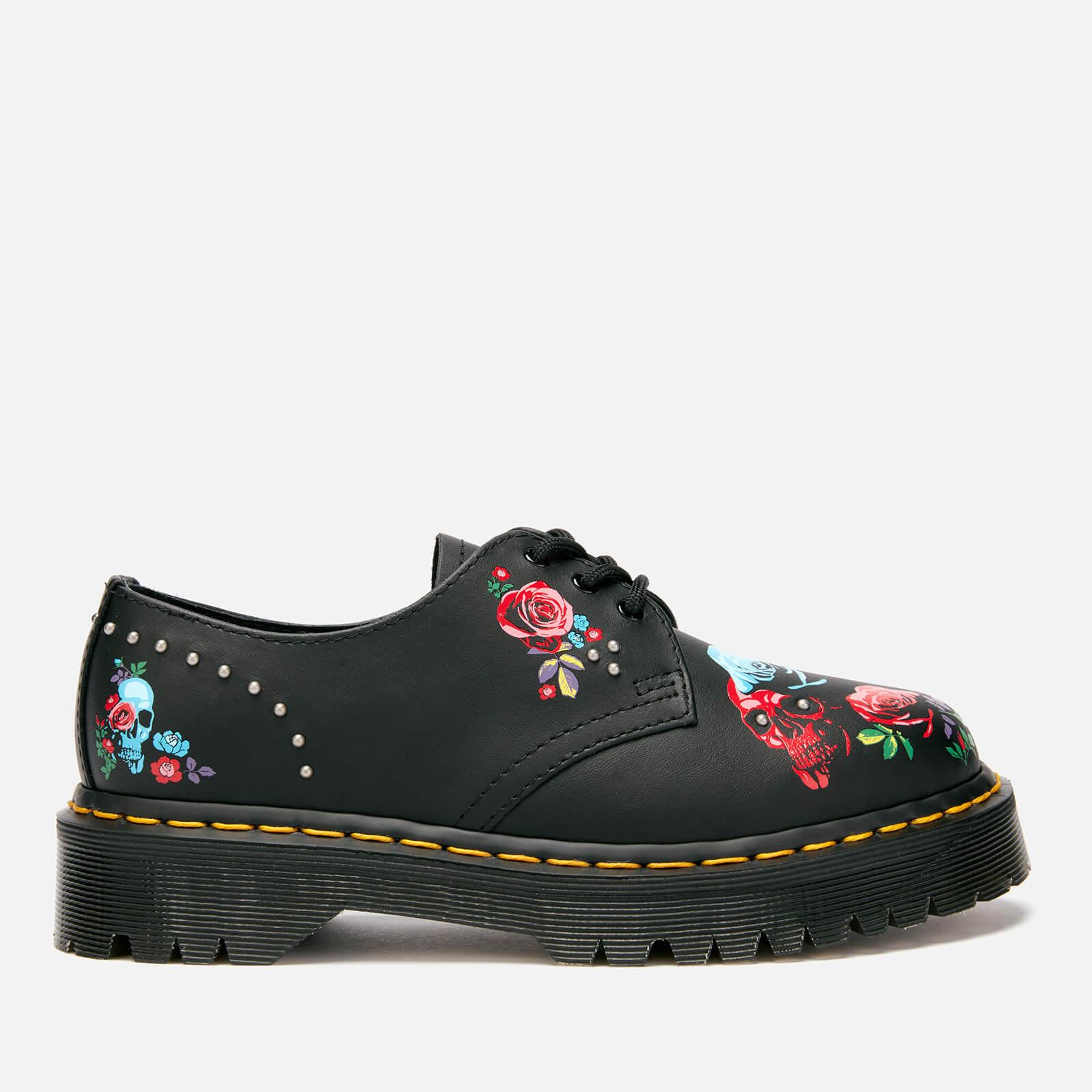 Dr. Martens Women's 1461 Bex Rode 3-Eye Shoes - Rose Fantasy Placement - UK 5 - Black