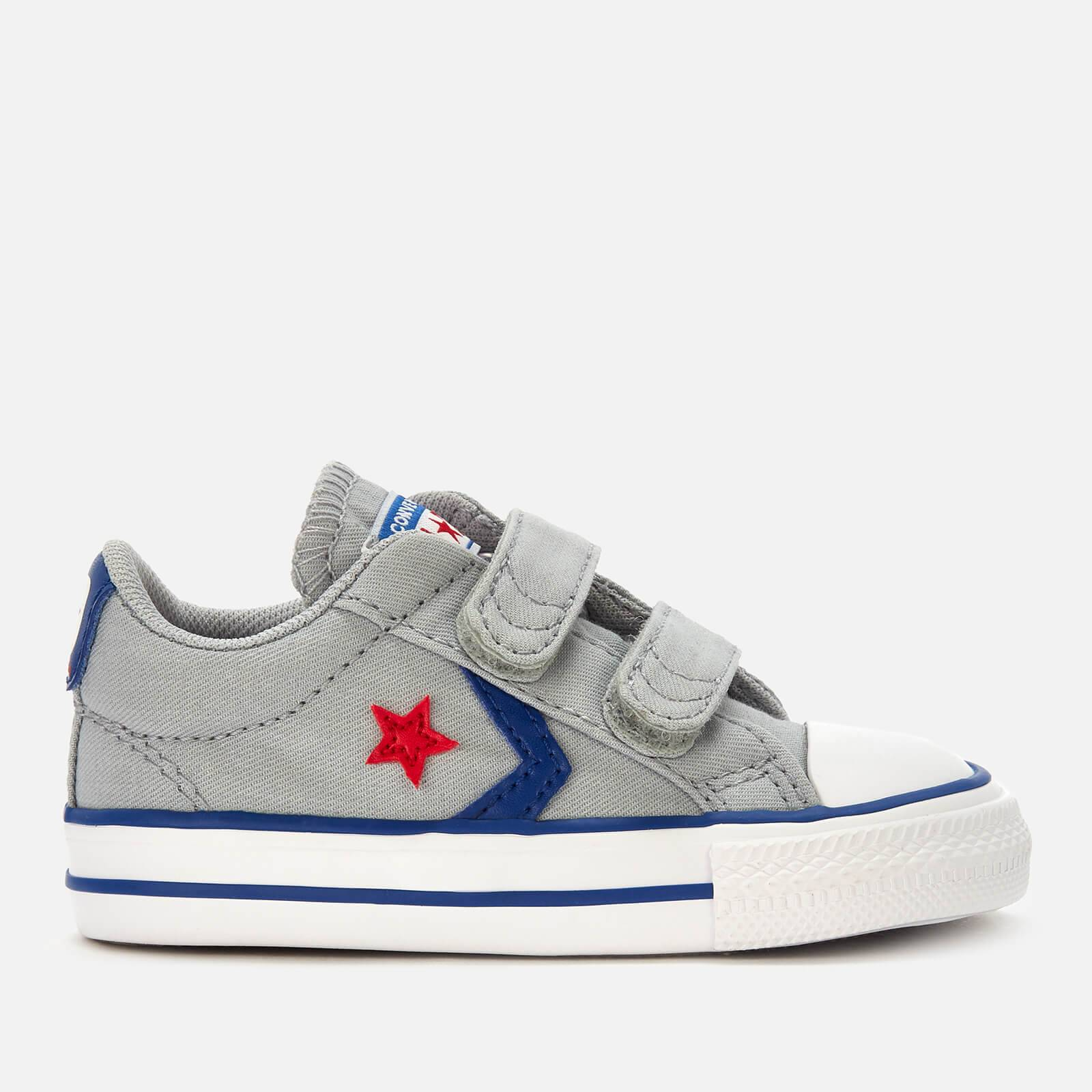 Converse Toddlers' Star Player 2 Velcro Ox Trainers - Wolf Grey/Blue/Enamel Red - UK 2 Toddler